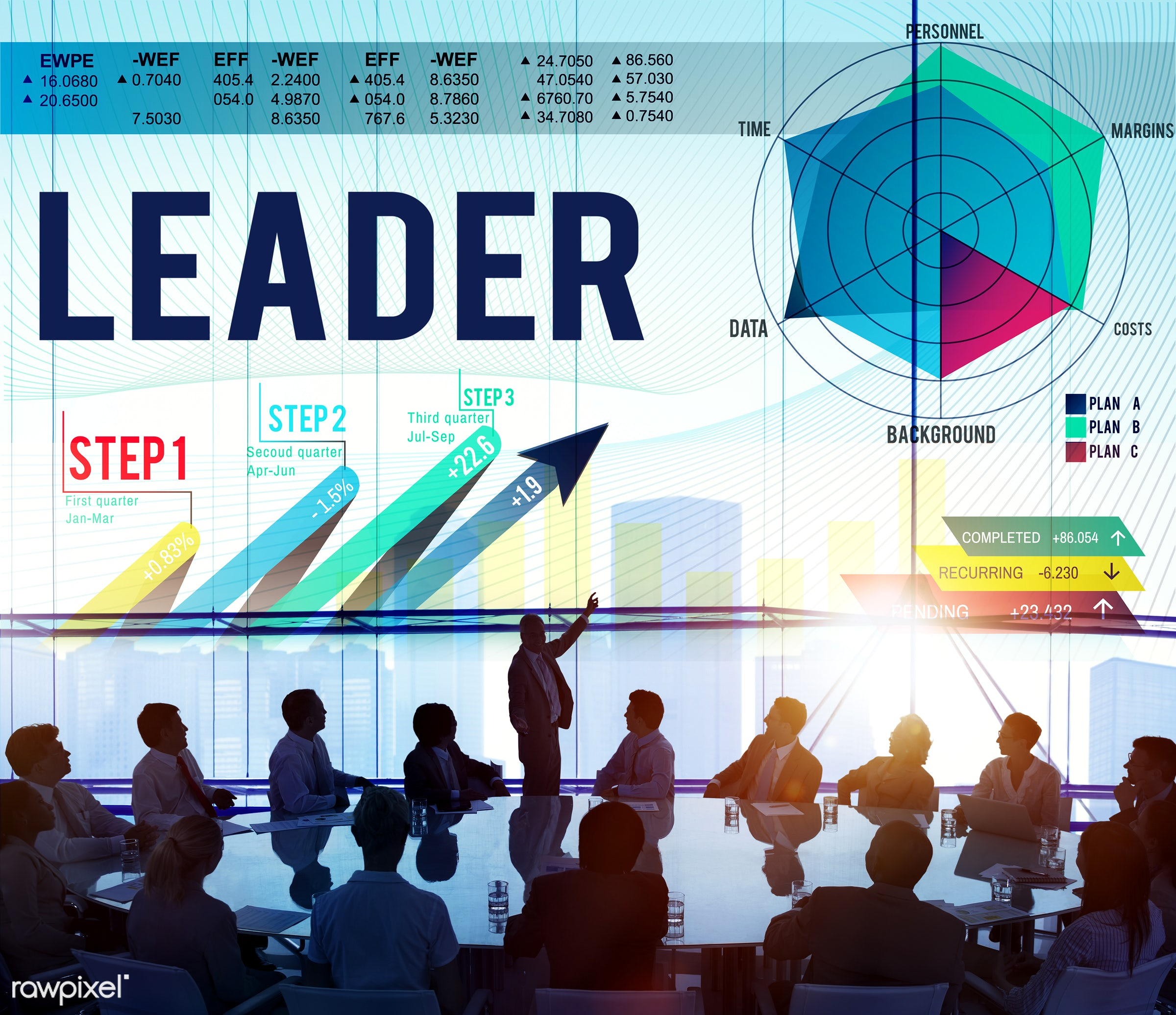 Leader illustration with silhouette of business people at a meeting table - leadership, analysis, audience, authoritarian,...
