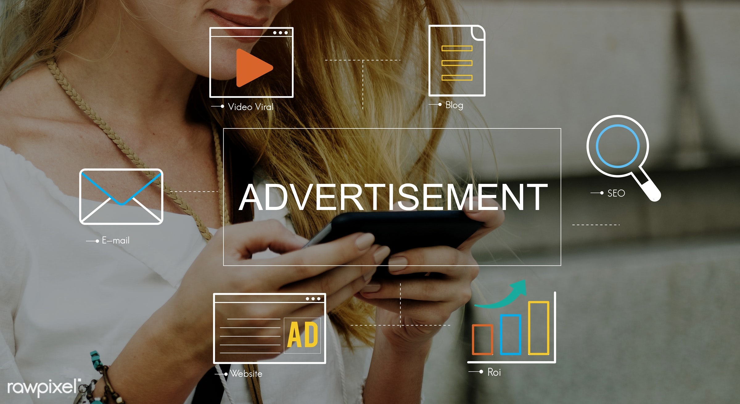 video, marketing, email, blog, mobility, advertisement, affiliate marketing, browsing, button, chart, chat, communication,...