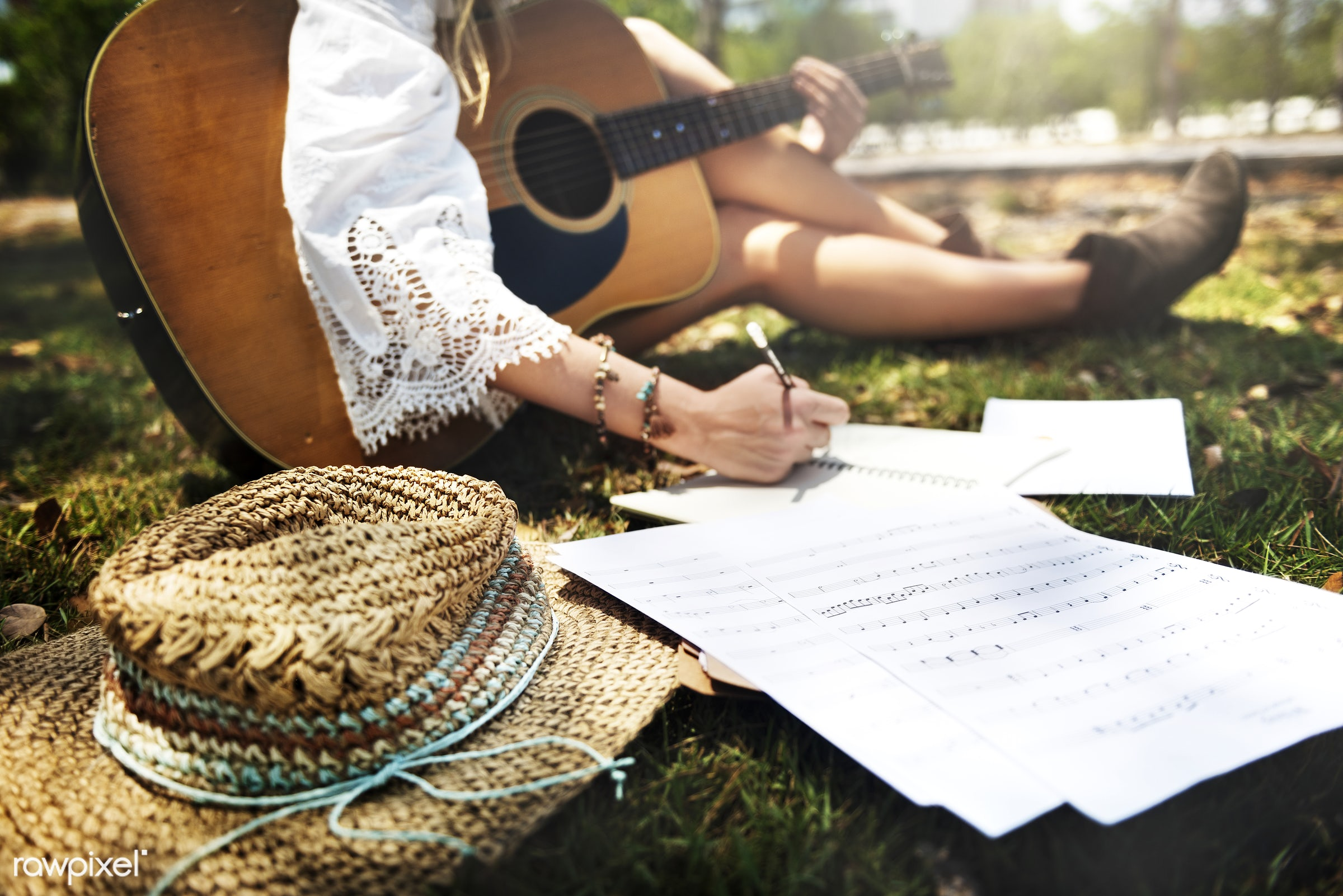 song, writing, lyrics, recreation, hat, composer, nature, hippy, melody, musician, closeup, note, music, songwriter, park,...
