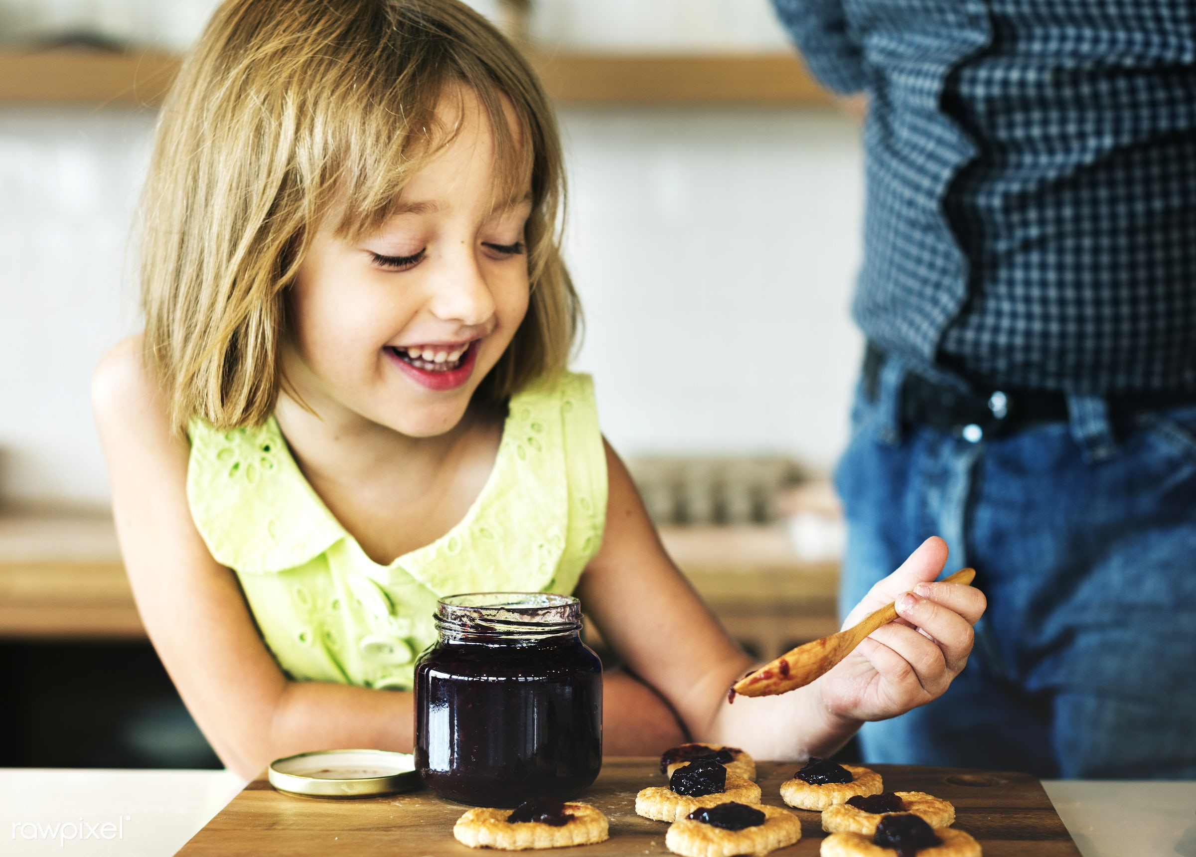 Young caucasian baker - dad, activity, american, bake, baker, bakery, baking, biscuit, blond, child, cookies, daughter,...