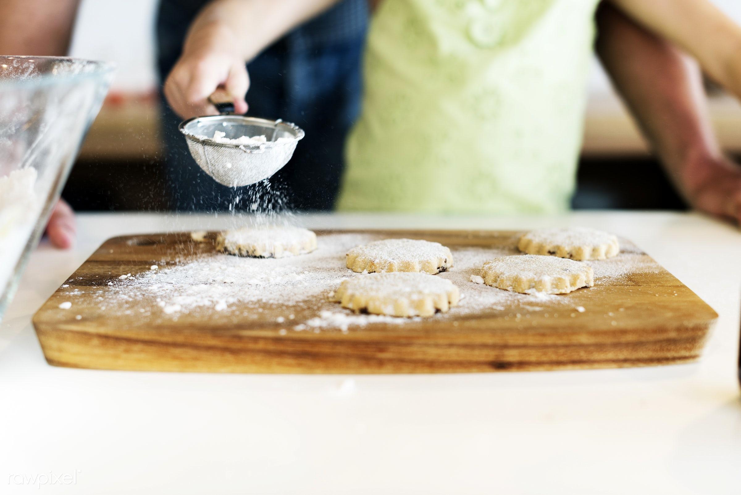 Young caucasian baker - activity, bake, baker, bakery, baking, biscuit, child, cookies, dad, daughter, dessert, family,...