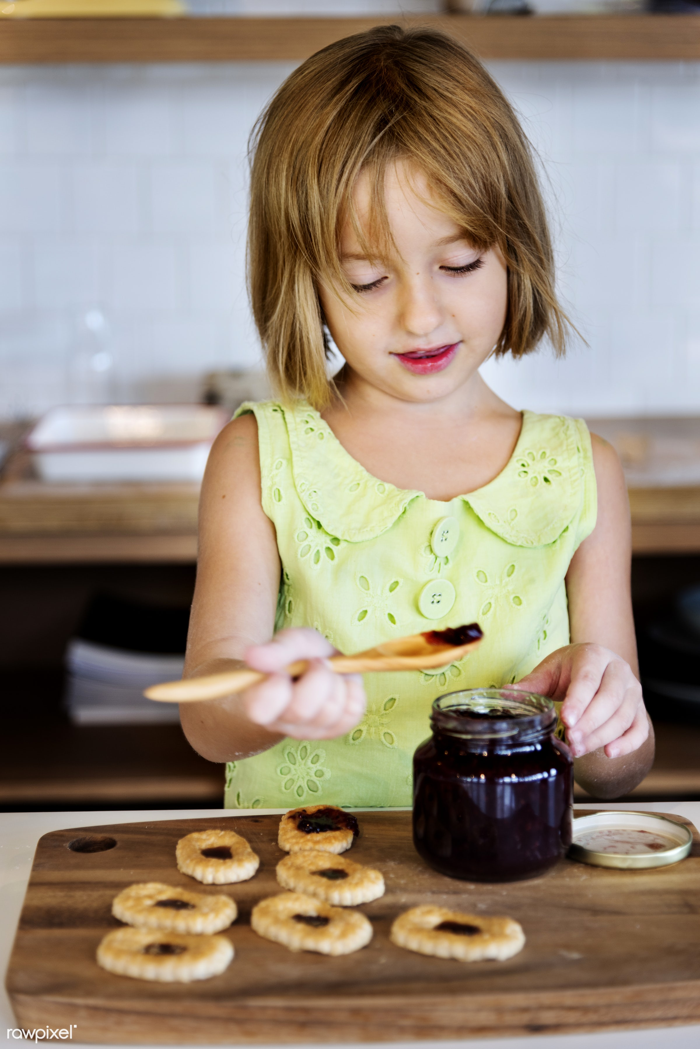 Young caucasian baker - kitchen, activity, alone, american, bake, baker, bakery, baking, biscuit, blond, child, closeup,...
