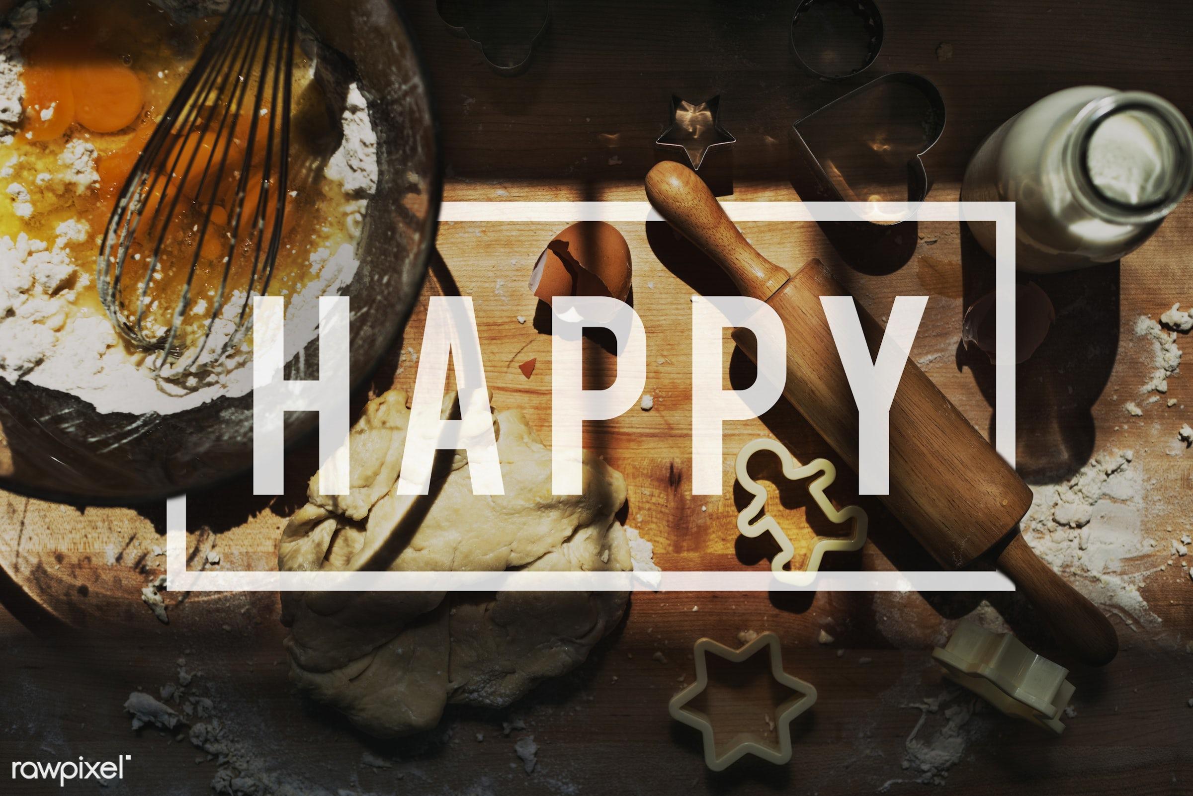 aerial view, attitude, badge, bake, bakery, baking, baking tool, banner, cheerful, cooking, enjoyment, equipment, flour,...