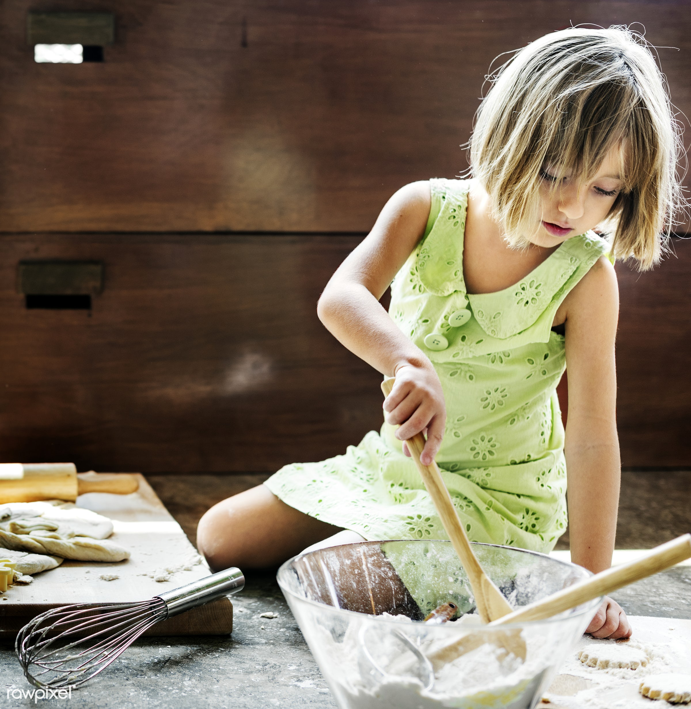 Young caucasian baker - kitchen, activity, alone, american, bake, baker, bakery, baking, blond, cheerful, child, cook,...