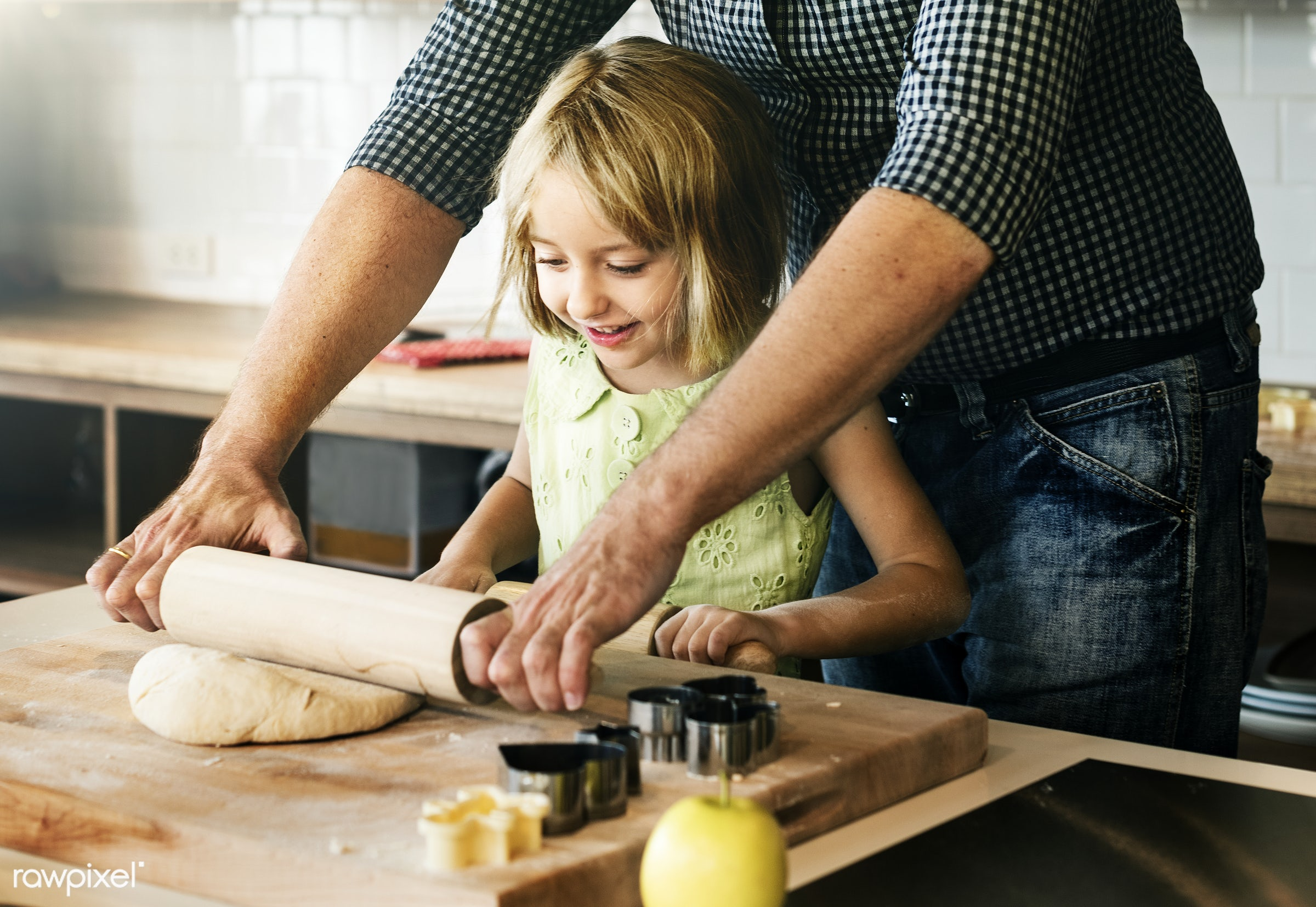 Young caucasian baker - father, kitchen, activity, american, bake, baker, bakery, baking, biscuit, blond, child, cookies,...