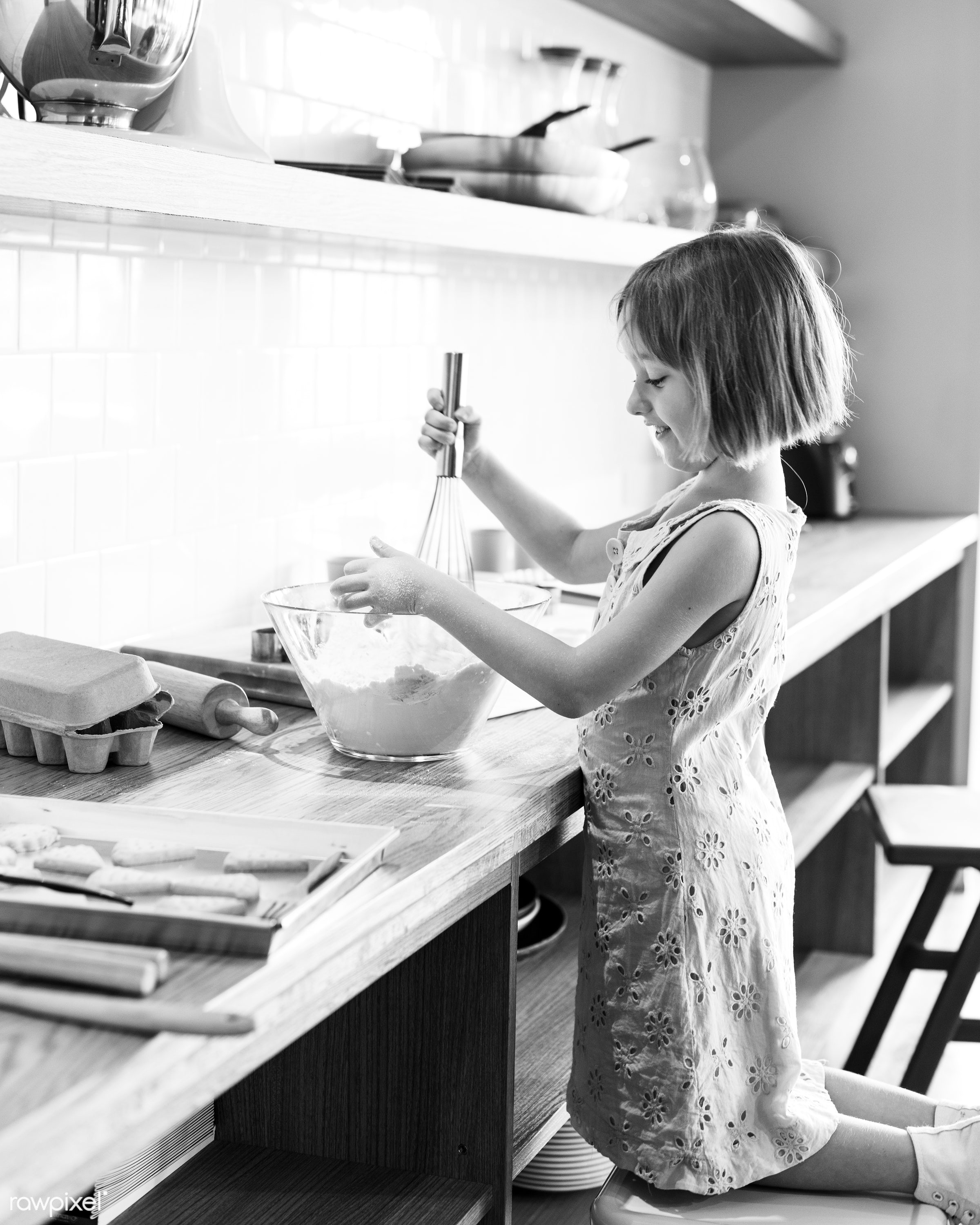 Young caucasian baker - pastry, activity, alone, american, bake, baker, bakery, baking, blond, cheerful, child, cook,...