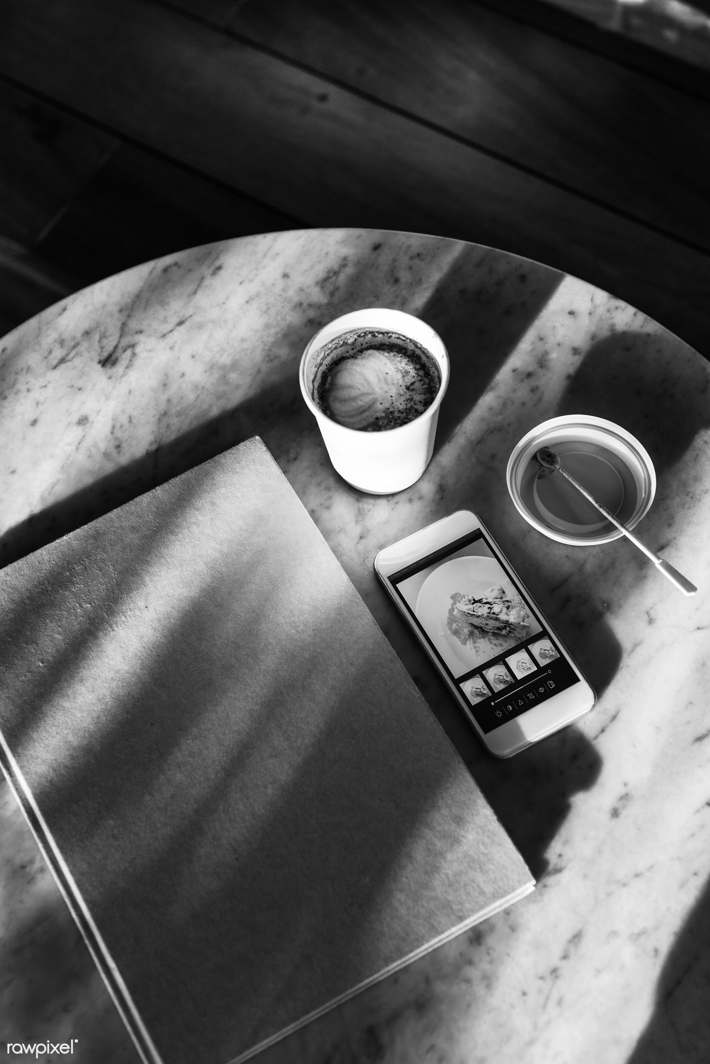 aerial, book, cellphone, coffee, connection, cooking book, cup, device, diary, digital, hobby, information, internet,...