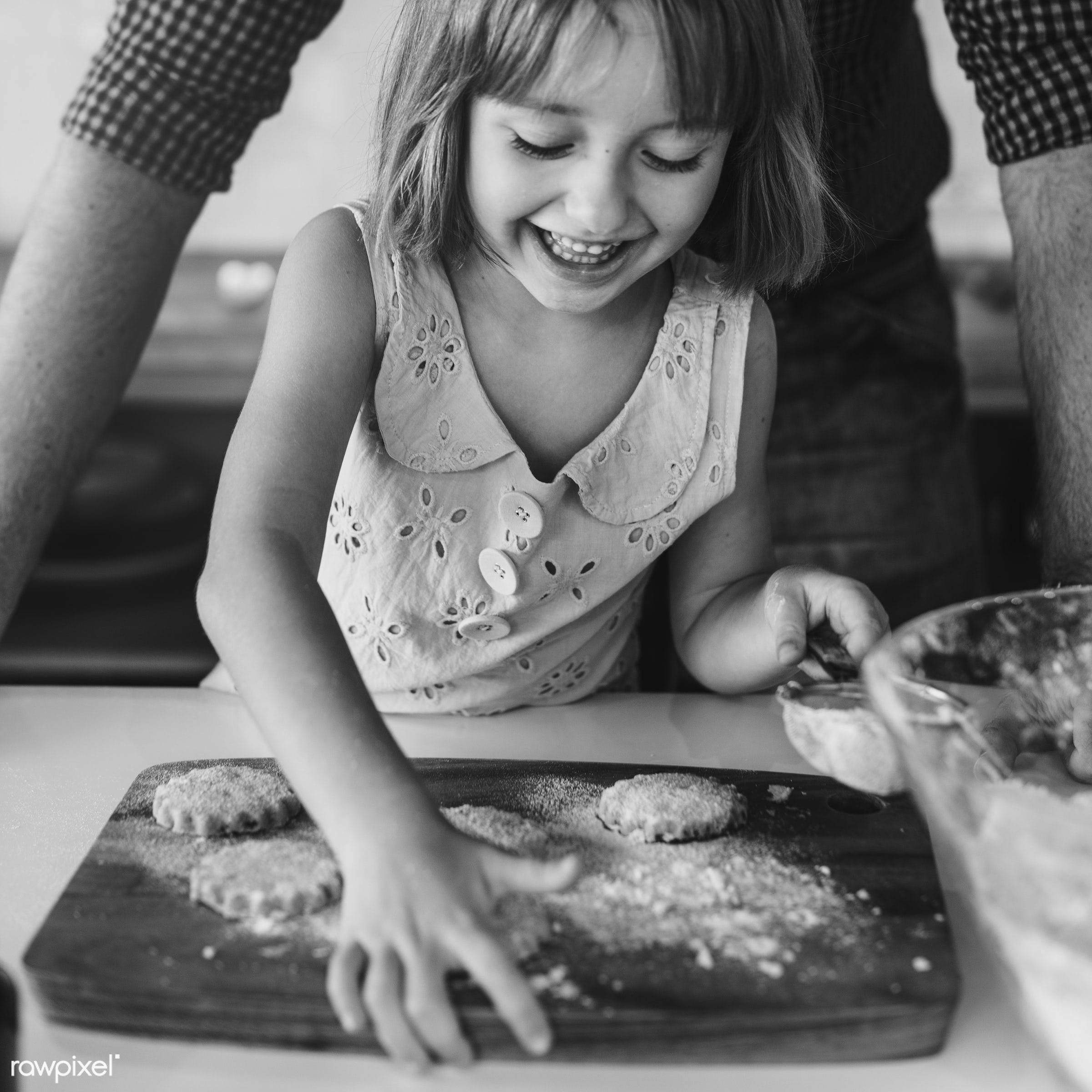 Young caucasian baker - activity, american, bake, baker, bakery, baking, biscuit, blond, child, cookies, dad, daughter,...