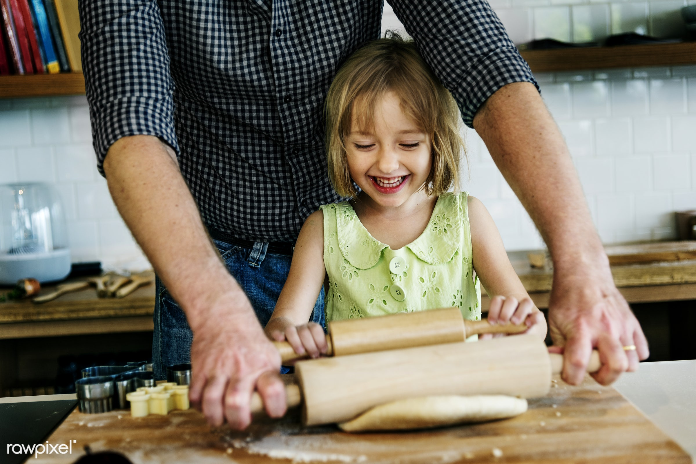 Young caucasian baker - family, food, father, together, lifestyle, dad, kitchen, bakery, baking, activity, american, bake,...