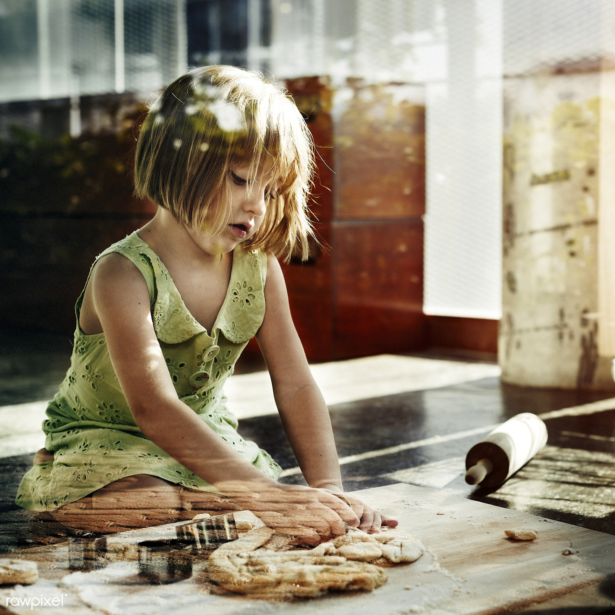 Young caucasian baker - lifestyle, pastry, bake, bakery, activity, alone, american, baker, baking, blond, cheerful, child,...