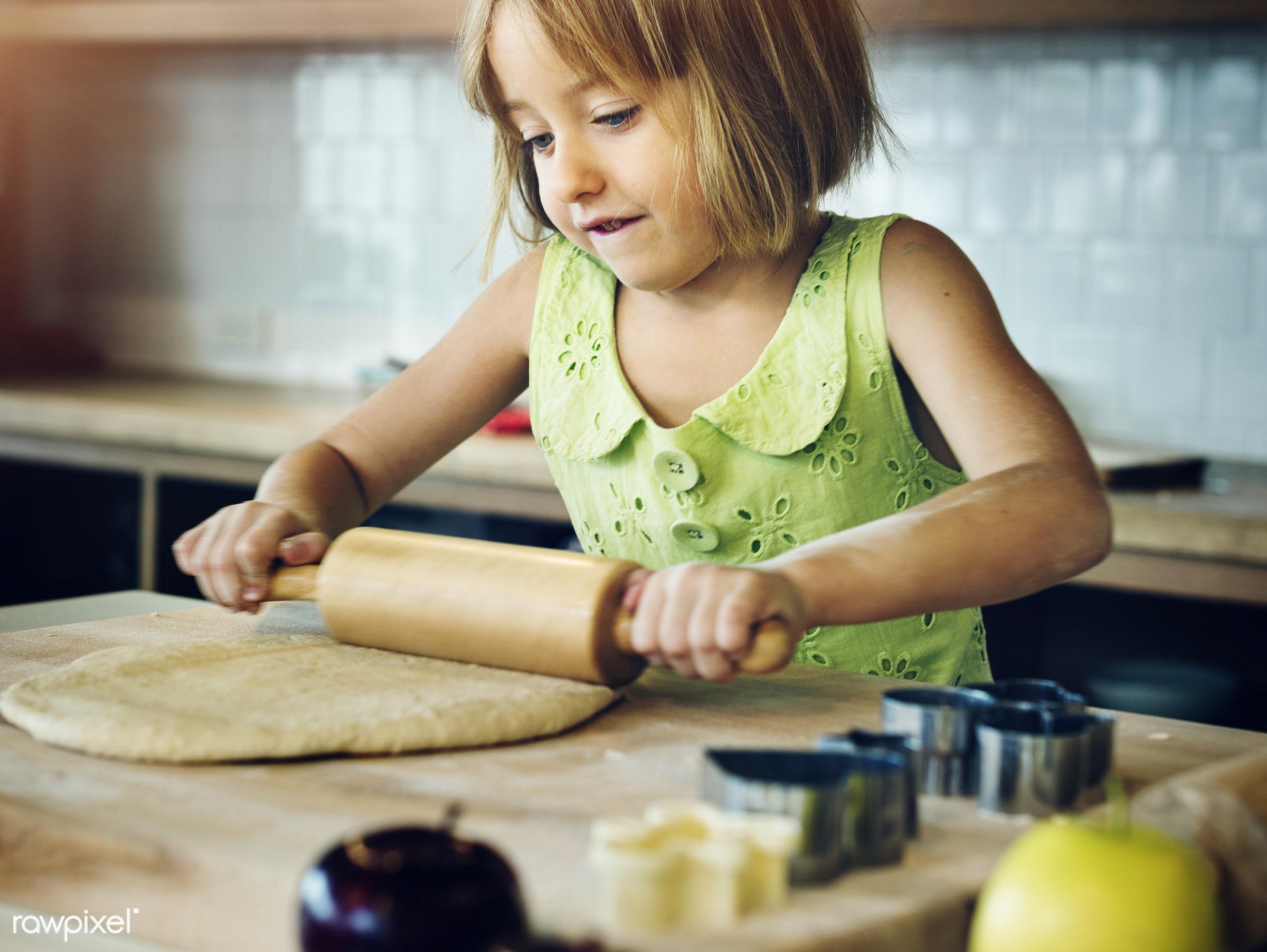 activity, alone, american, bake, baker, bakery, baking, blond, caucasian, cheerful, child, cook, cookies, daughter, dessert...