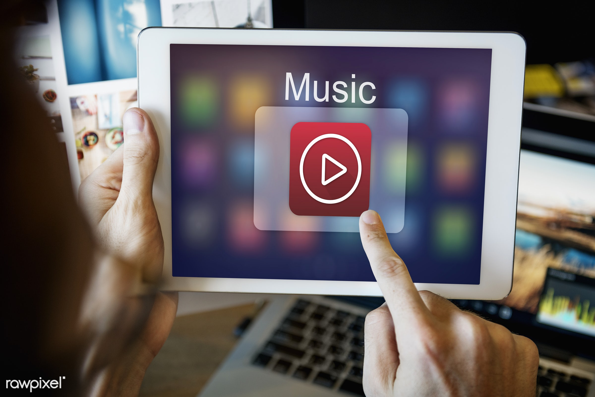 Online music - application, audio, broadcast, browsing, button, connect, connection, creative occupation, desk, devices,...