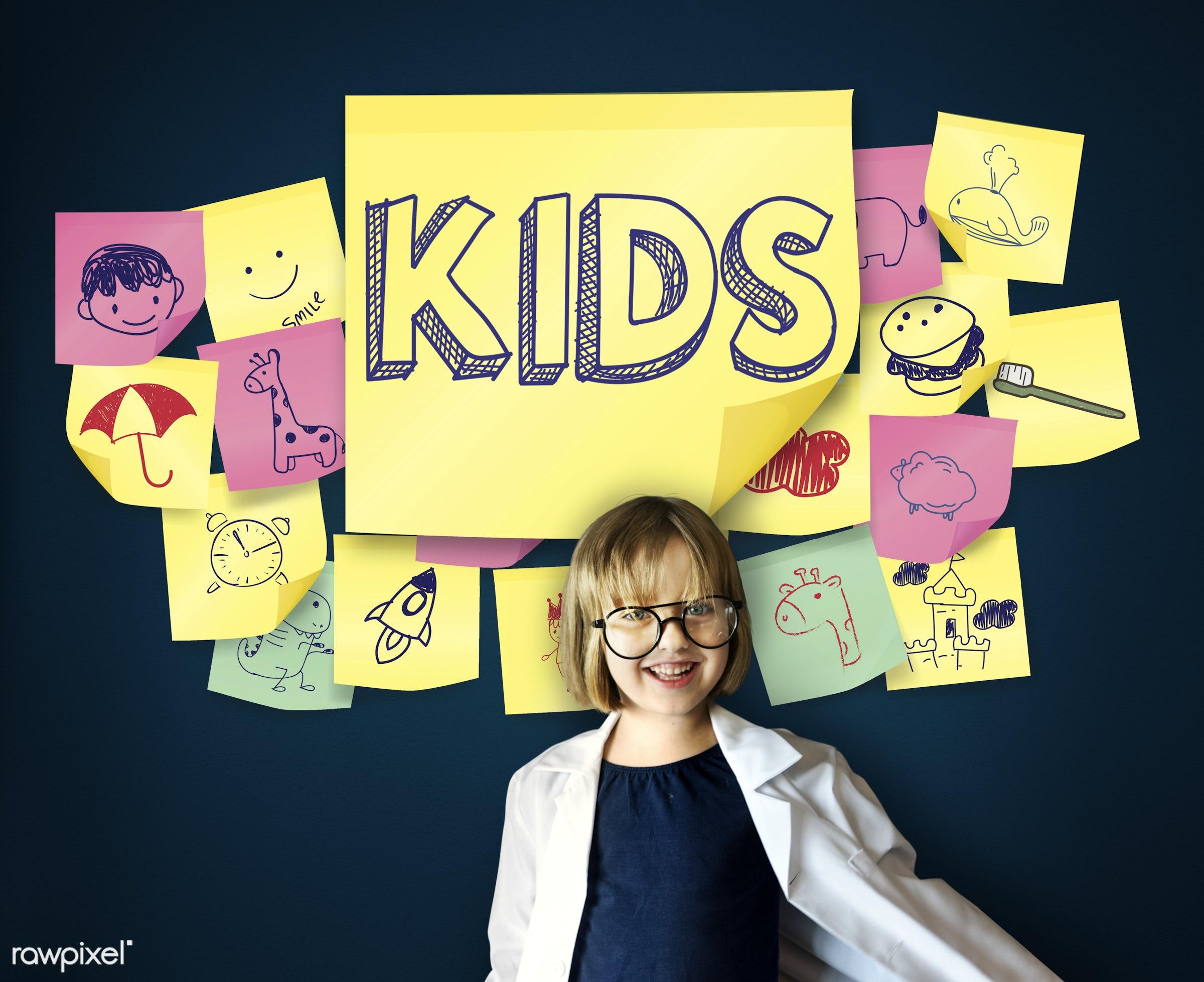 adhesive note, adolescence, adorable, blackboard, cheerful, child, childhood, children, cute, dream job, education,...