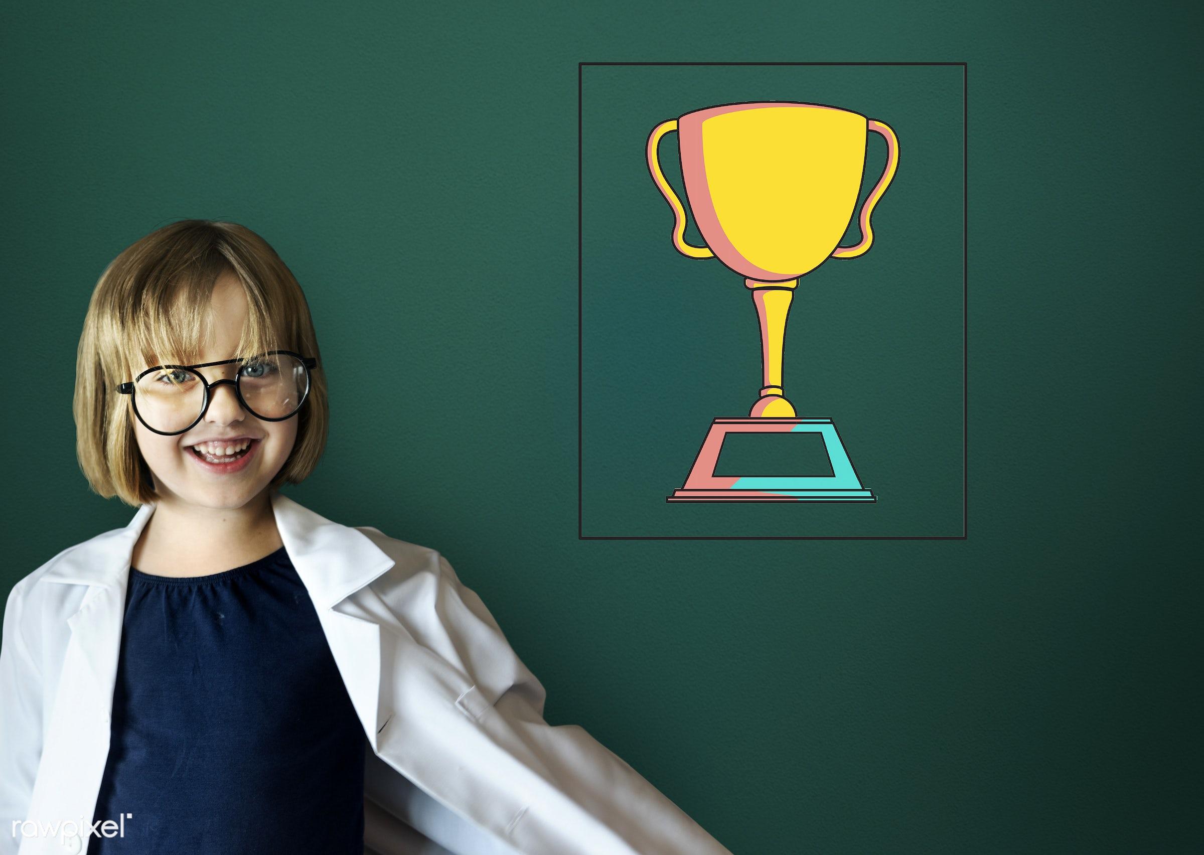 accomplishment, achievement, adorable, award, blackboard, cheerful, child, childhood, completion, cup, cute, dream job,...