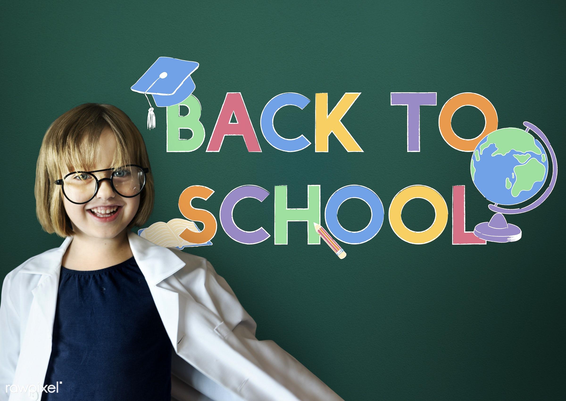Back to school - adorable, blackboard, cheerful, child, childhood, cute, dream job, education, elementary age, enjoyment,...