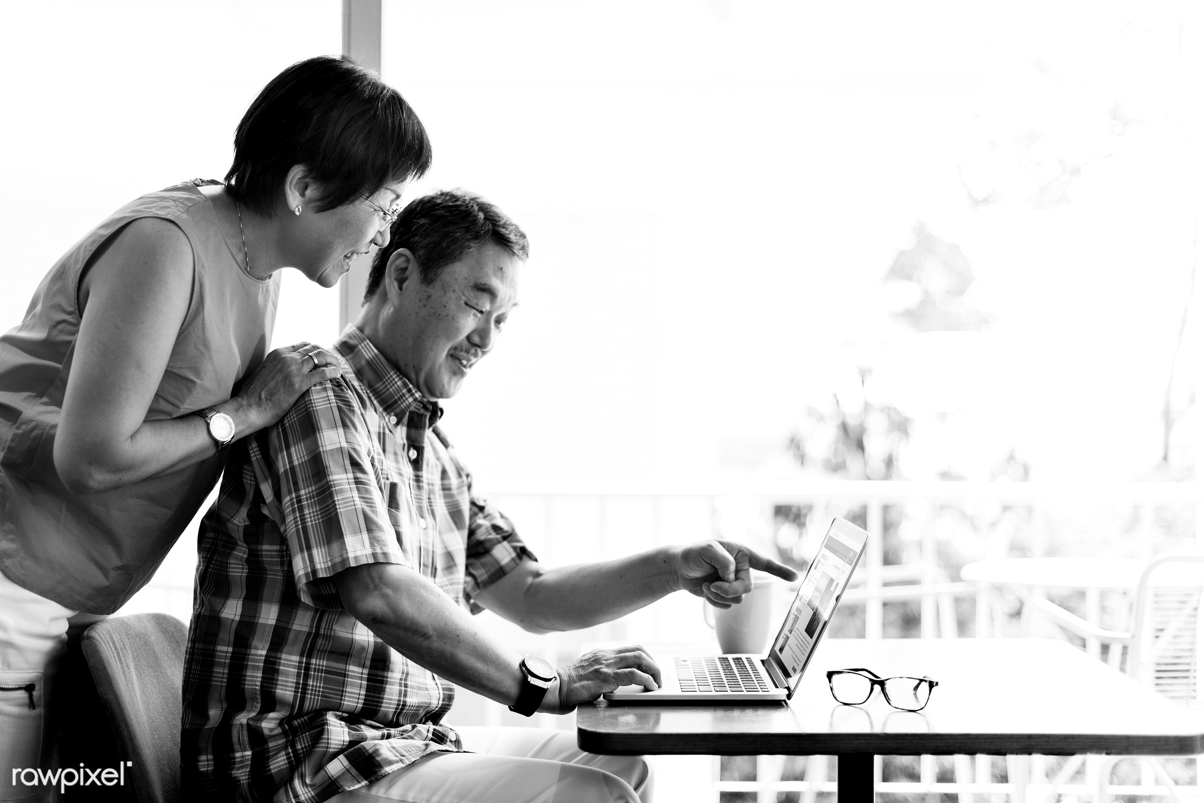 affection, asian, beverage, black and white, browsing, casual, chinese, coffee, couple, cup, descent, desk, dining, elderly...