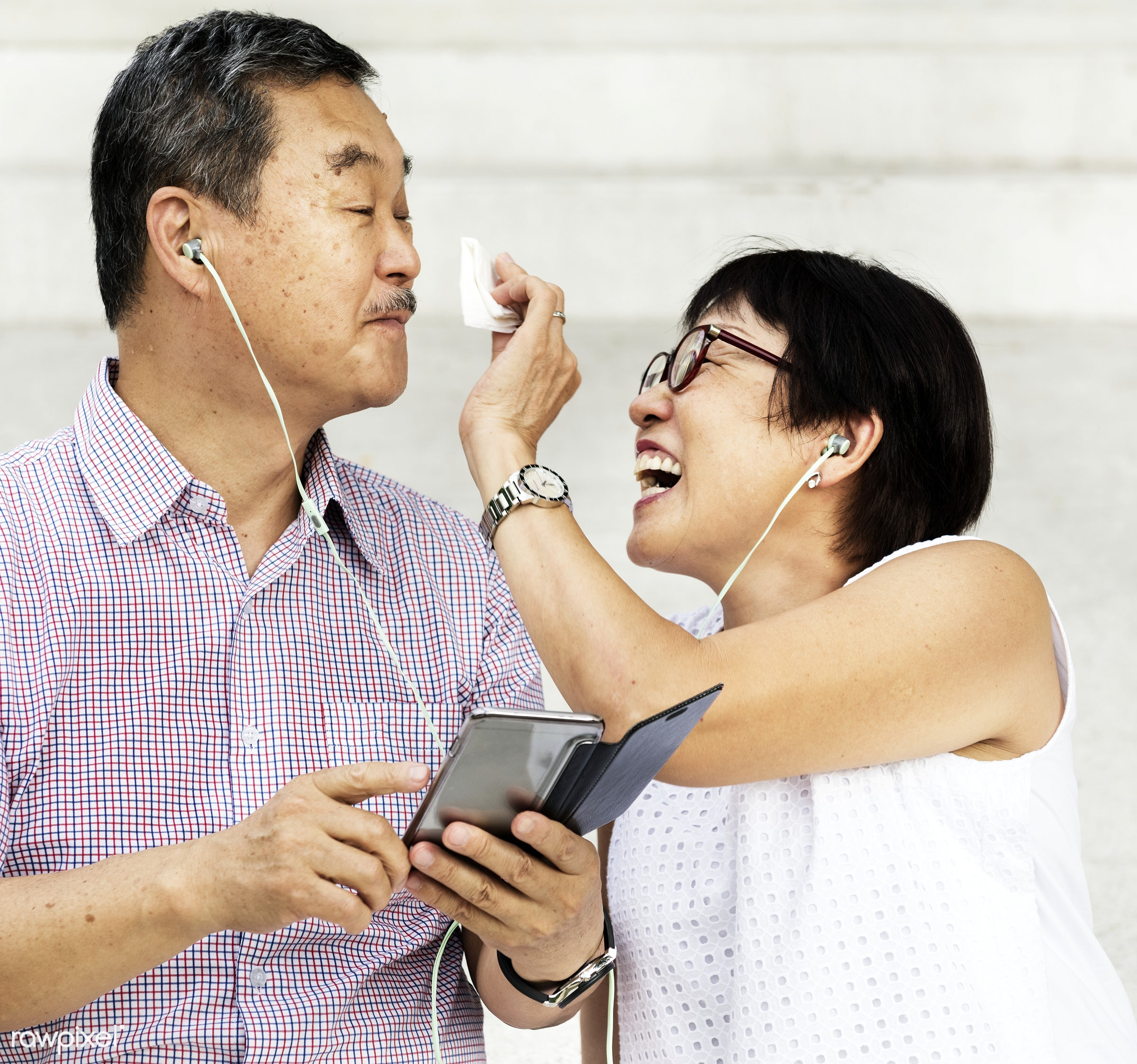 asian, casual, chinese, couple, descent, earphones, elderly, family, female, gadget, grandparents, happiness, happy, health...