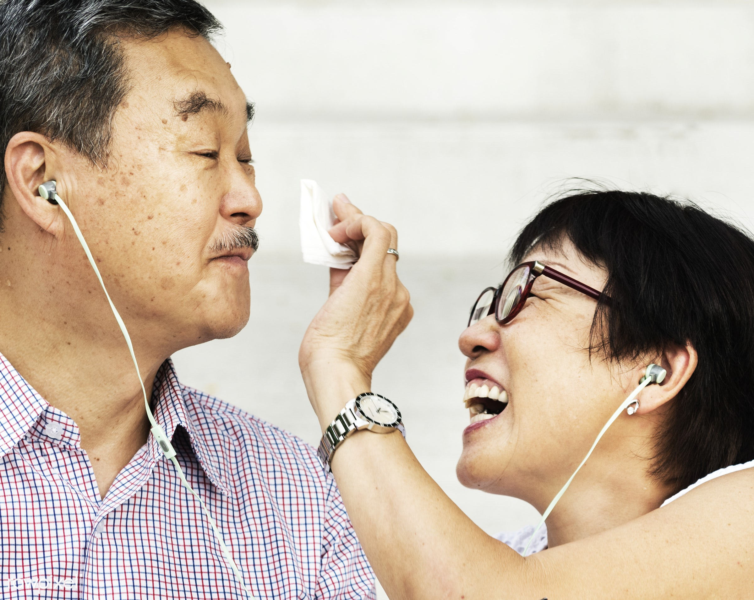 Senior Asian couple - couple, elderly, senior, asian, cheerful, cute, descent, earphones, family, female, glasses, happiness...