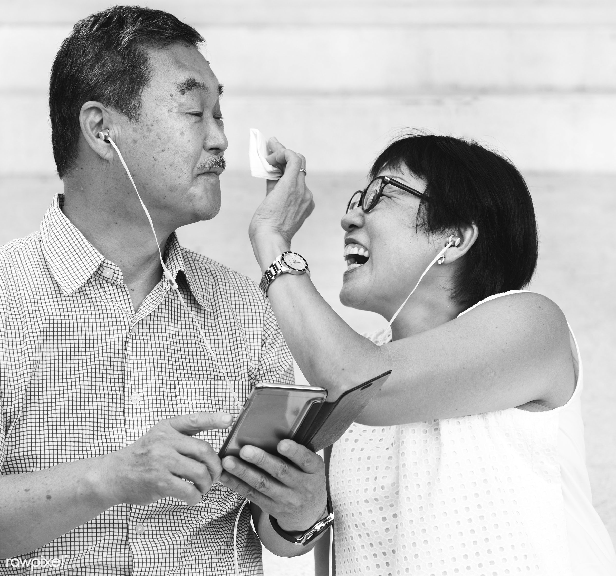 asian, black and white, casual, chinese, couple, descent, earphones, elderly, family, female, gadget, grandparents,...