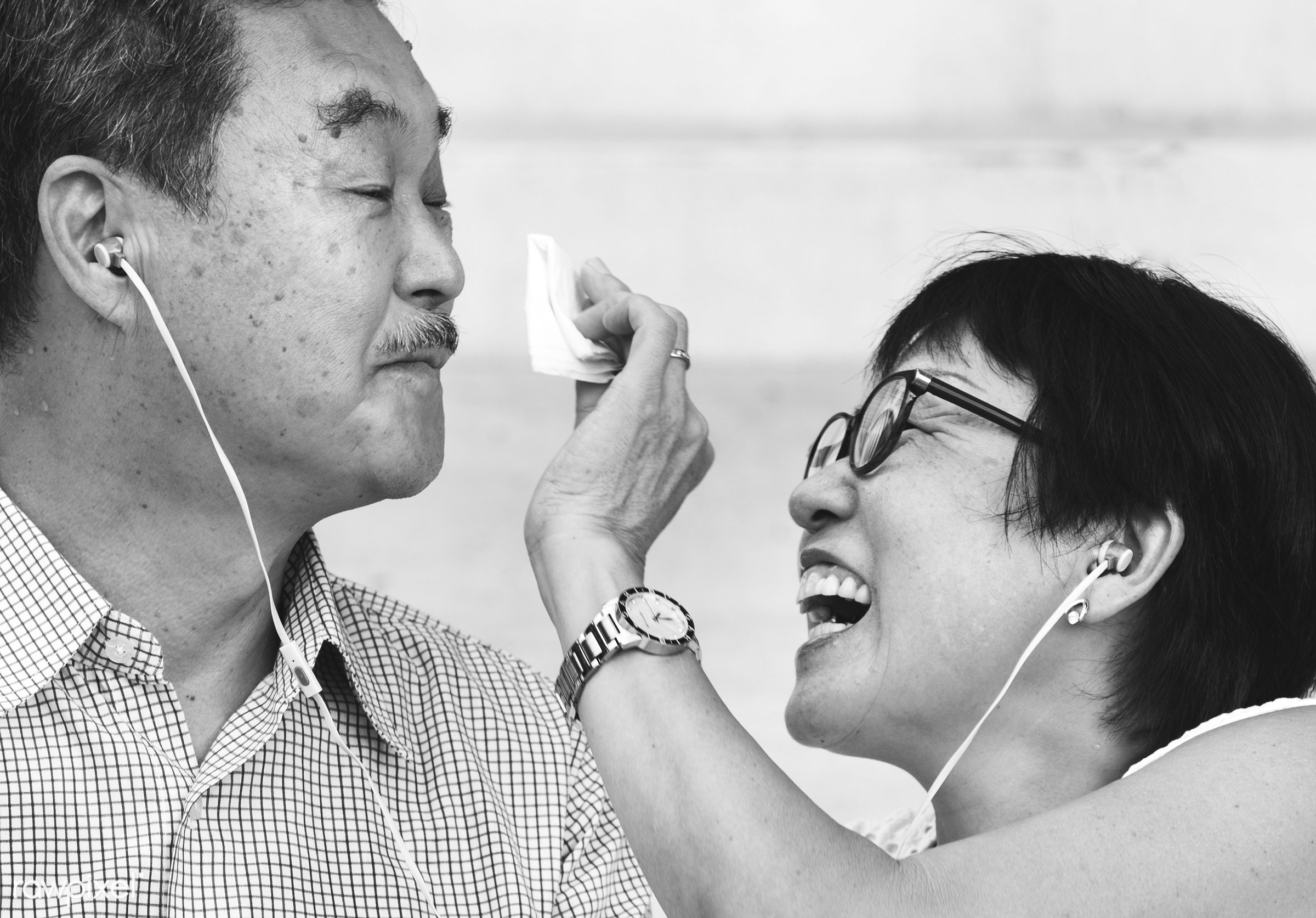 asian, cheerful, couple, cute, descent, earphones, elderly, family, female, glasses, happiness, happy, husband, japanese,...