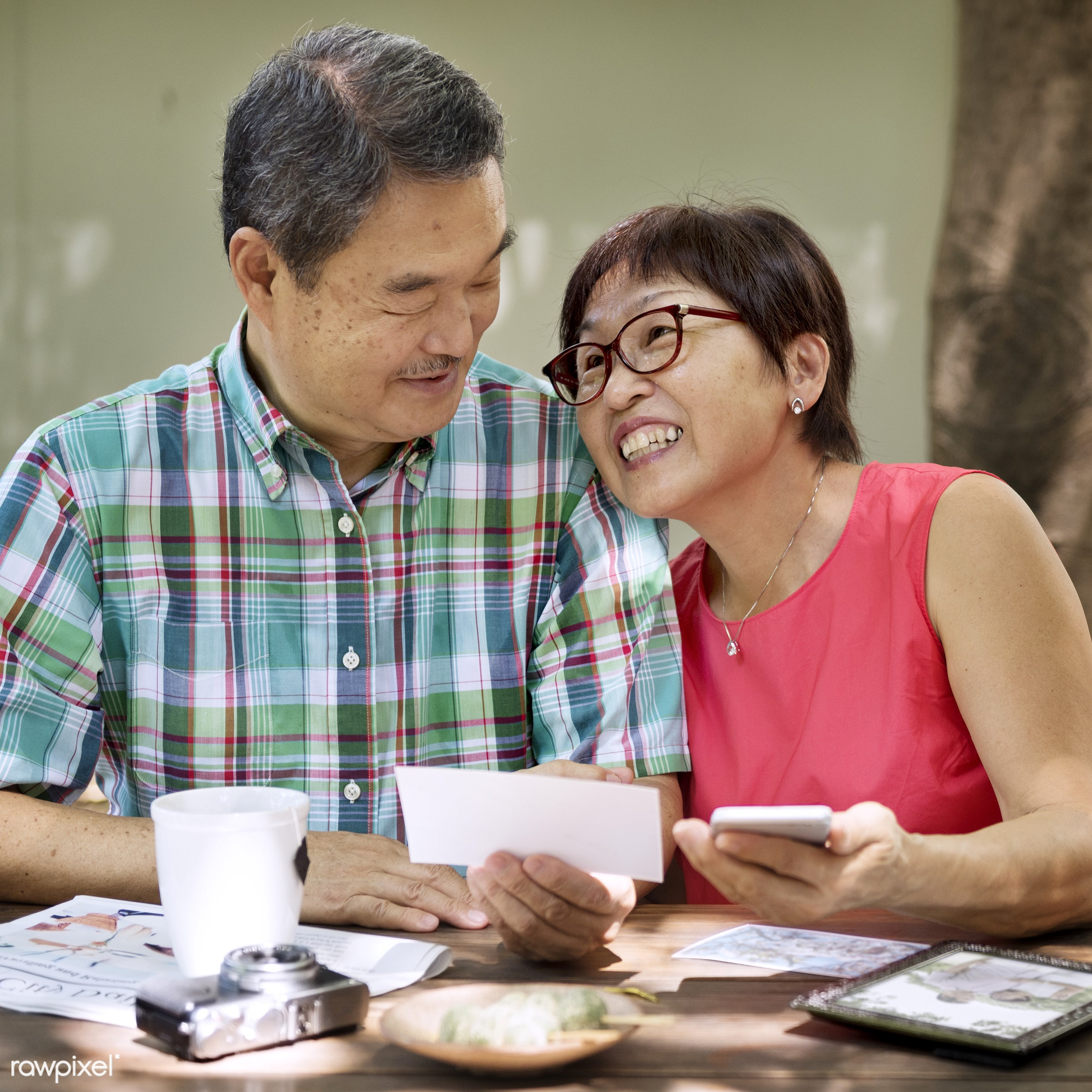asian, beverage, camera, care, casual, caucasian, cheerful, couple, cup, device, enjoying, eyeglasses, female, food, garden...