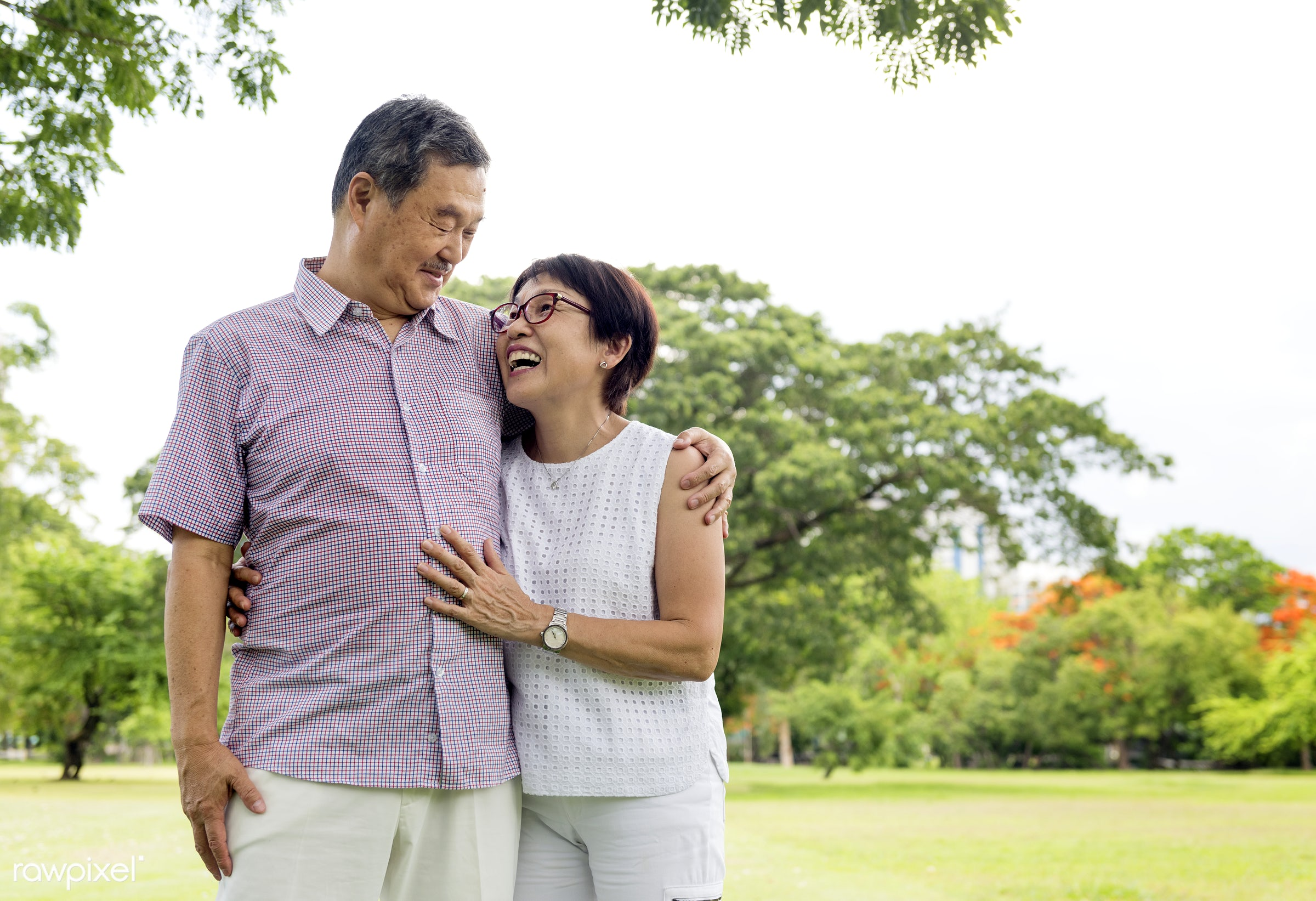 Cute senior couple in the park - family, retirement, park, love, care, elder, adult, asian, casual, cheerful, communication...