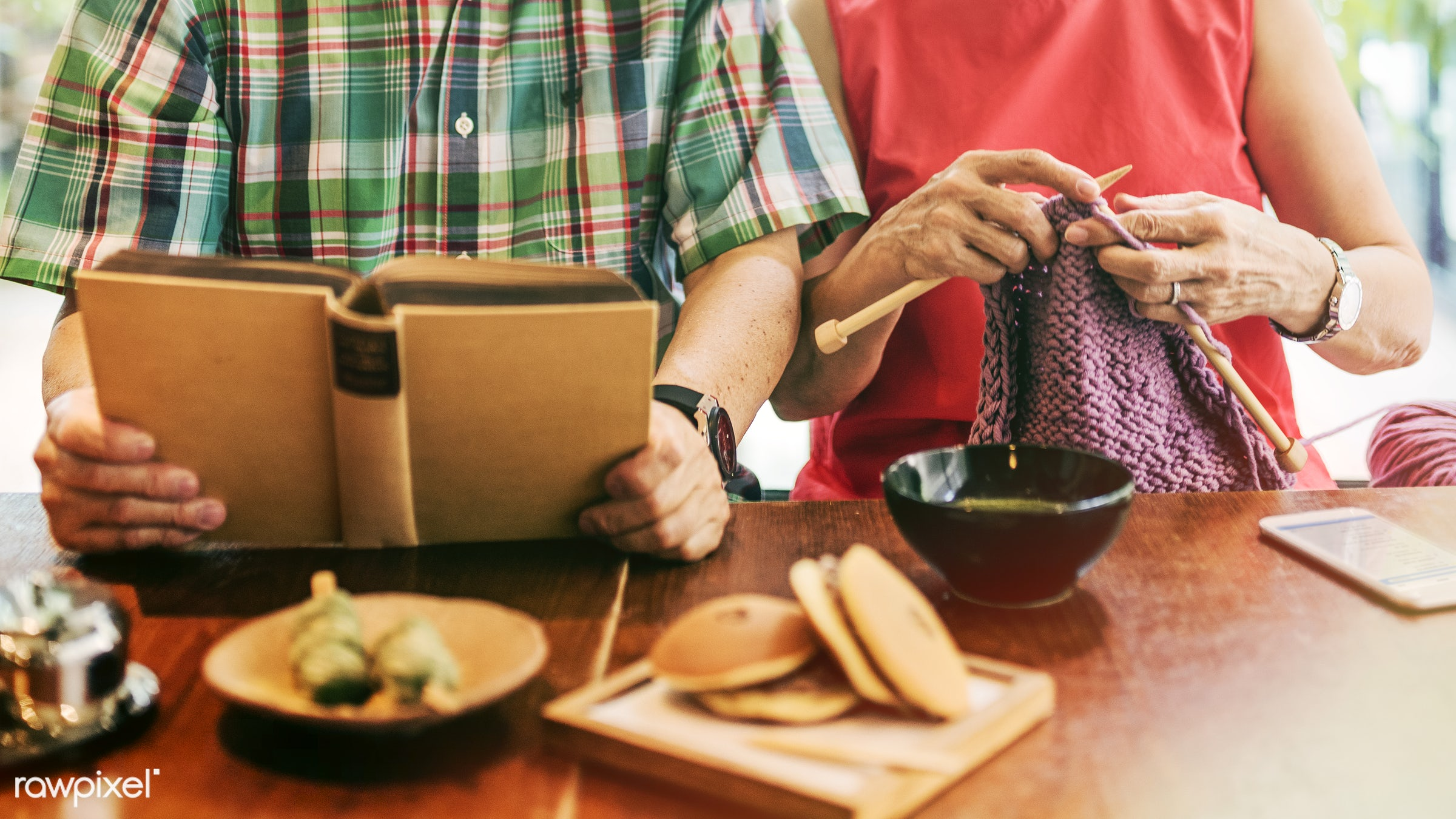 Senior Asian couple - family, asian ethnicity, bonding, book, boyfriend, cafe, casual, cheerful, couple, dessert, dorayaki,...