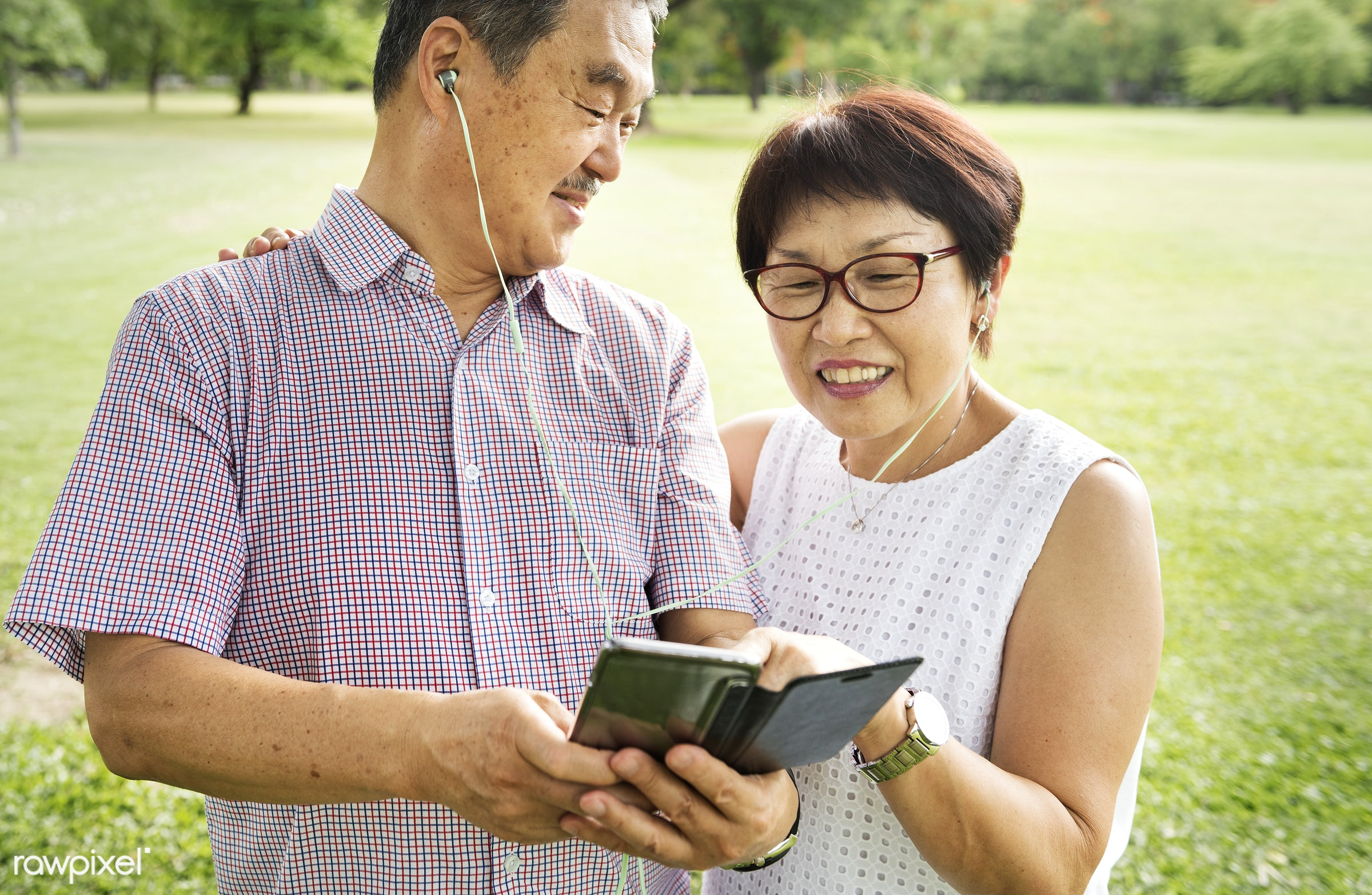 adult, asian, care, casual, cheerful, communication, connection, couple, day, device, digital, earphones, elder, family,...