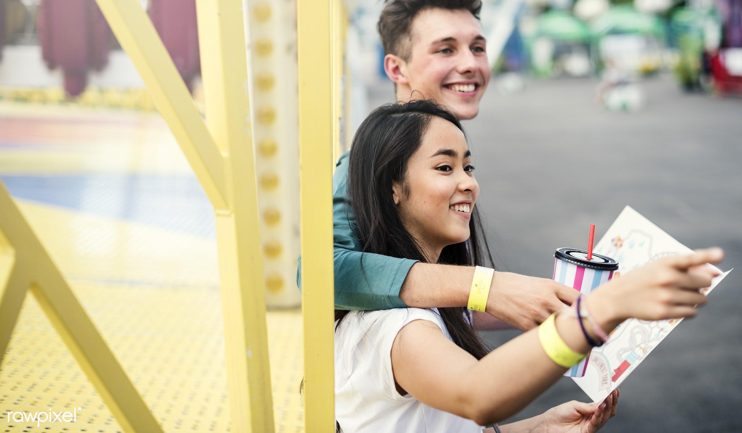 activity, american, amusement park, asian, black hair, bonding, carnival, casual, caucasian, cheerful, couple, date, dating...