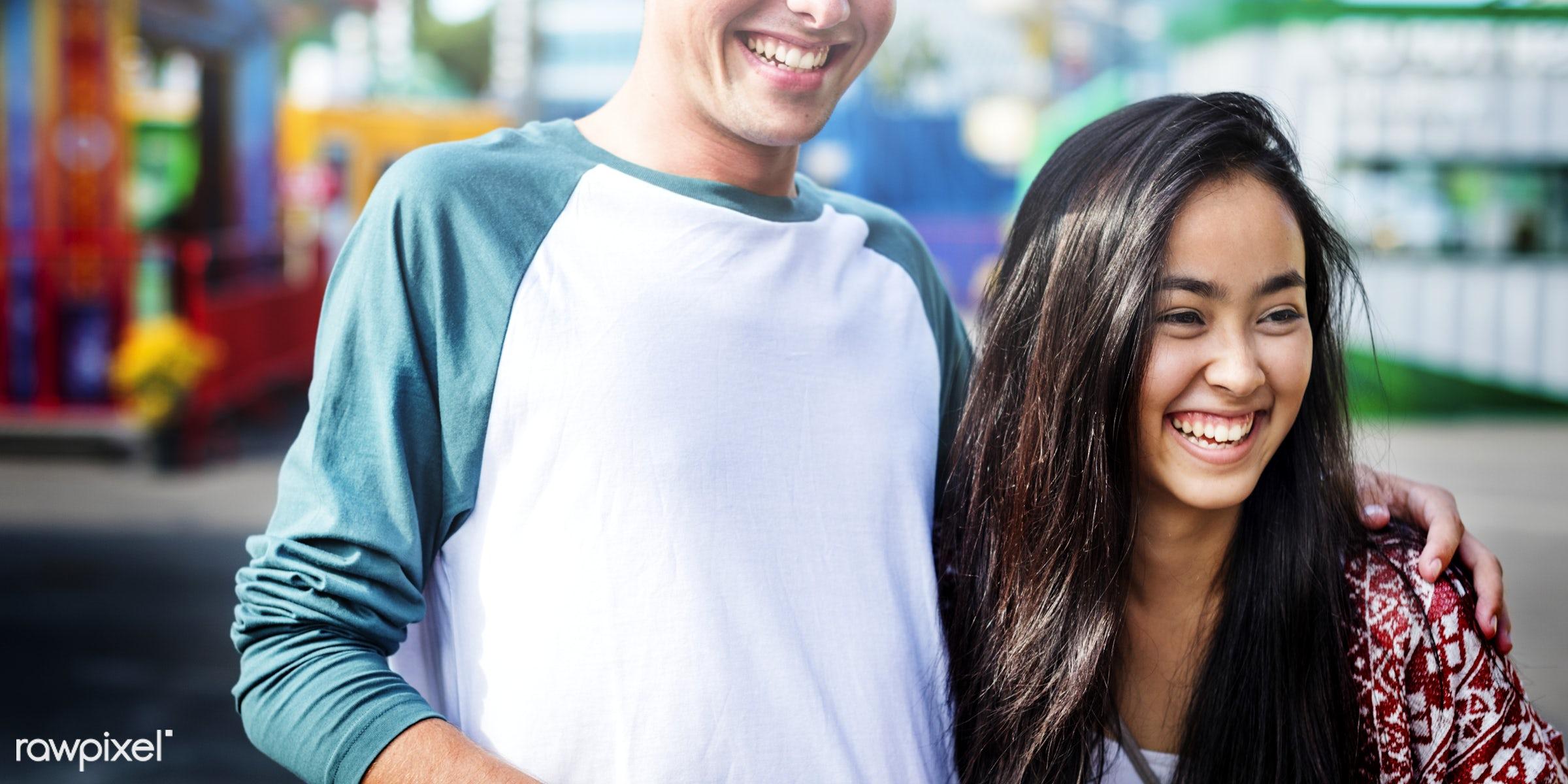 adorable, affectionate, amusement, amusement park, asian, beautiful, black hair, boyfriend, bright, candid, care, carnival,...