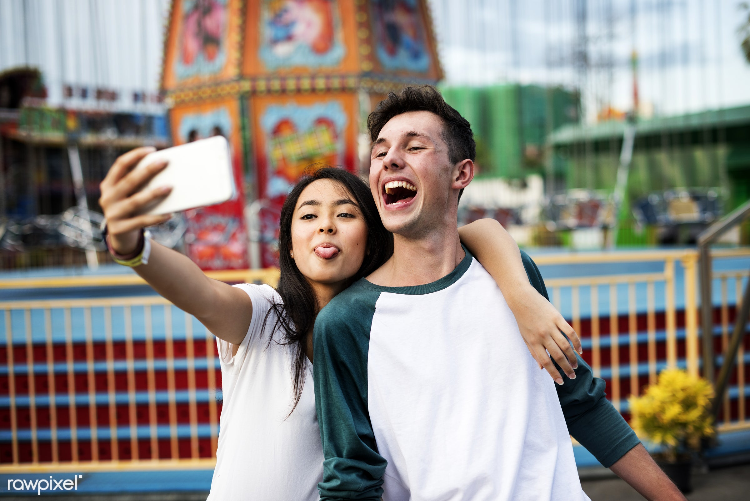 couple, fun, selfie, phone, lifestyle, youth, love, tongue, teenager, young, happiness, relax, thai, vacation, dating,...