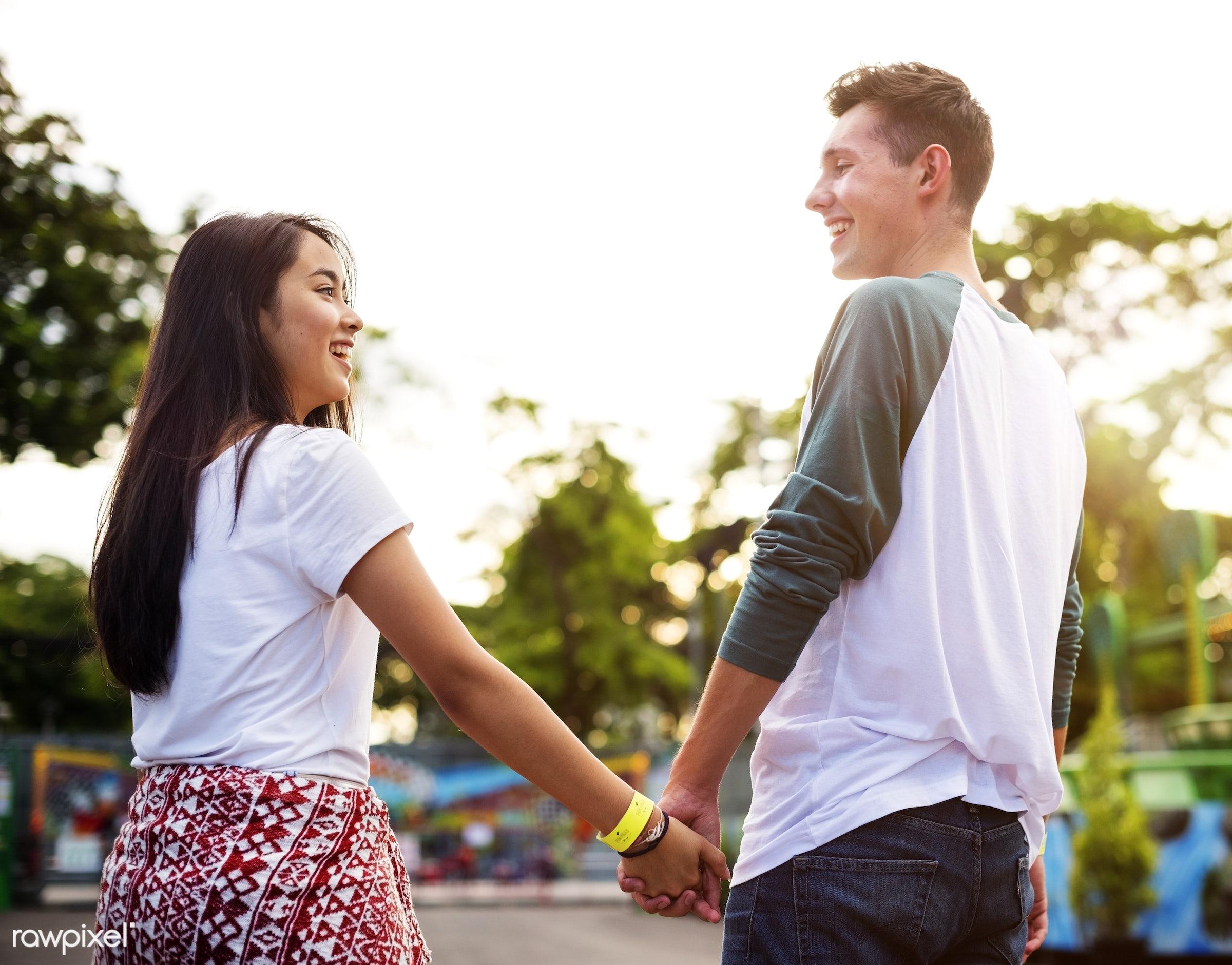activity, adult, american, amusement park, asian, black hair, bonding, carnival, casual, caucasian, cheerful, couple, date,...