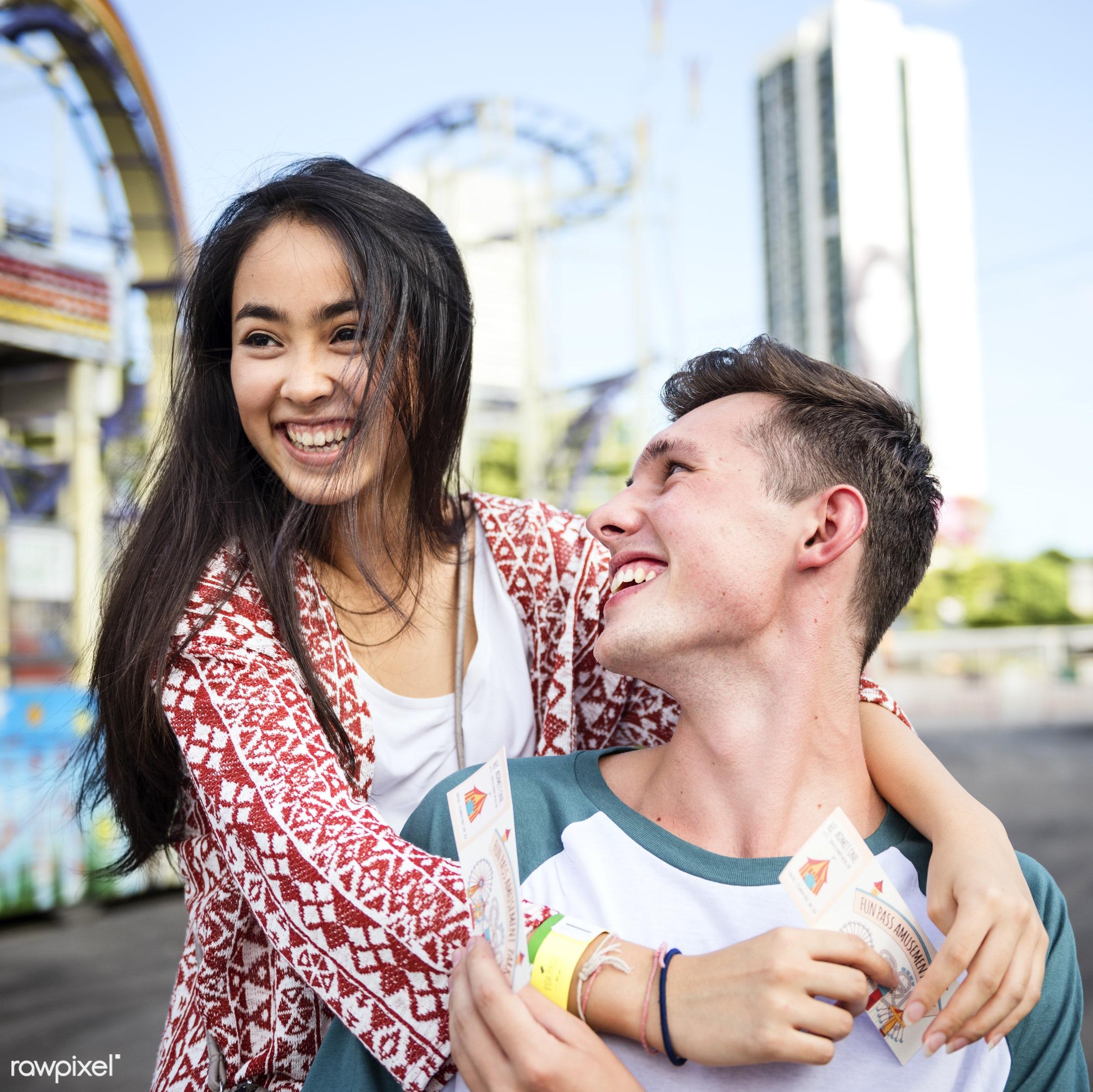 activity, american, amusement park, asian, black hair, bonding, carnival, caucasian, cheerful, couple, date, dating,...