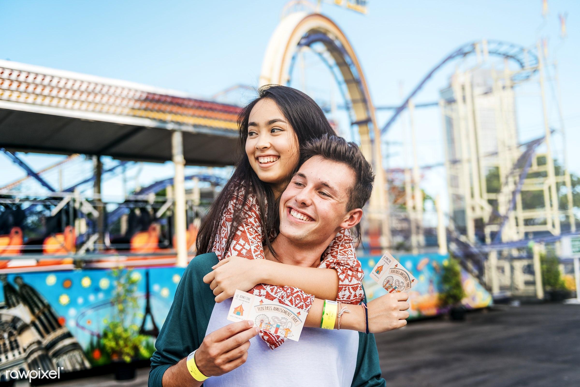 amusement park, adorable, affectionate, american, amusement, asian, beautiful, black hair, boyfriend, bright, candid, care,...