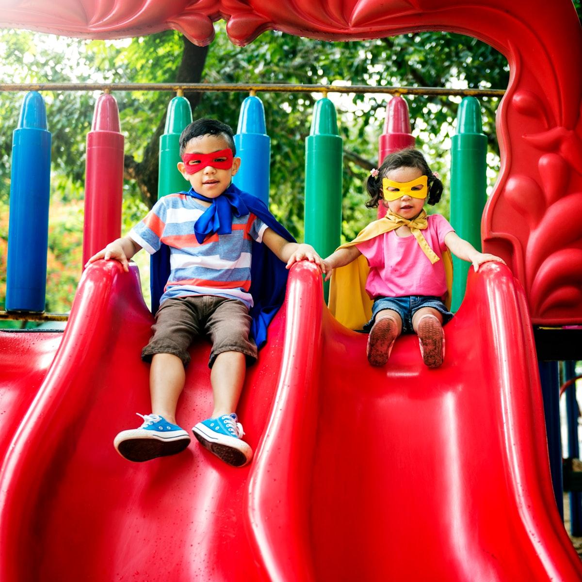 Brother Sister Girl Boy Kid Joy Playful Leisure Concept