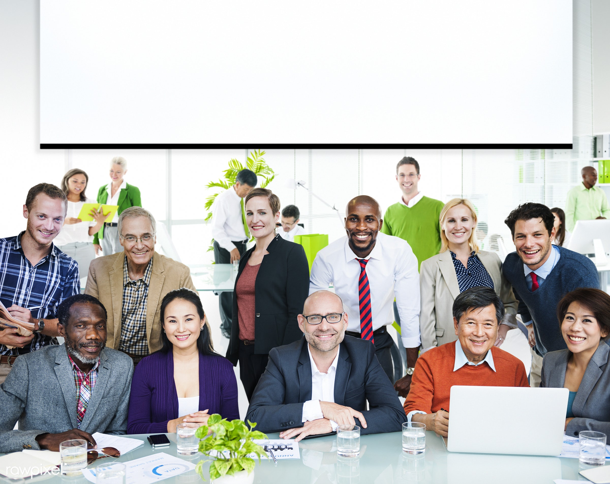 Business people working in a green office - african, african american, african descent, asian ethnicity, assistant, business...