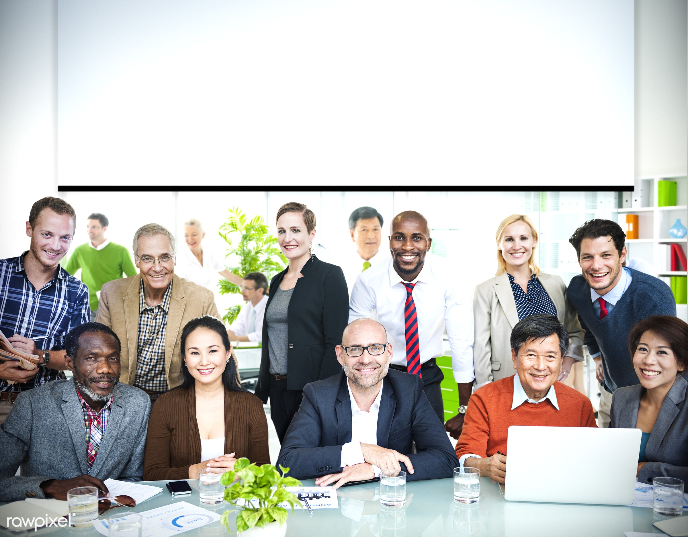 Business people working in a green office - african, african american, african descent, asian ethnicity, business people,...