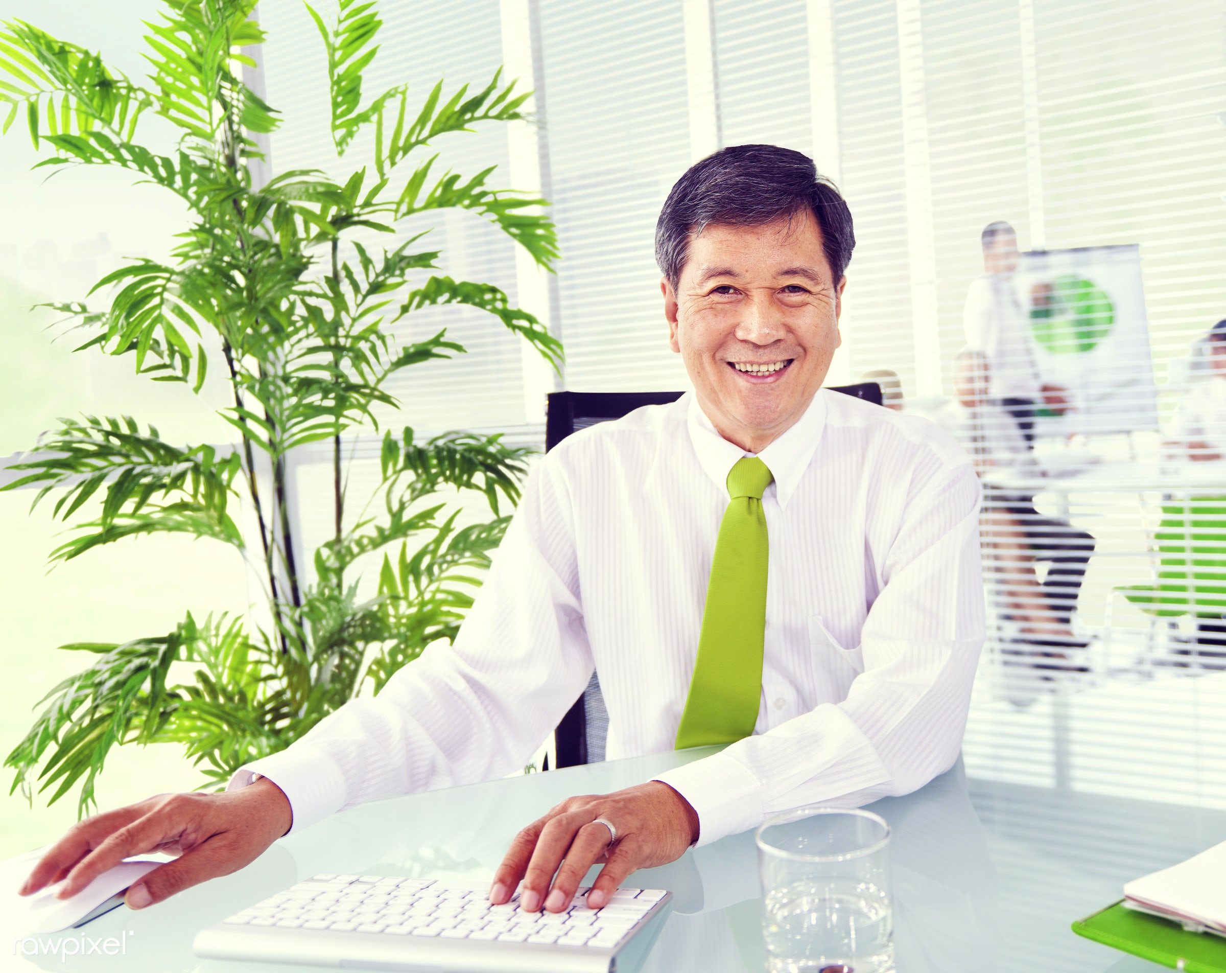 Senior businessman in a green office - adult, assistant, brainstorming, business, business people, business person,...