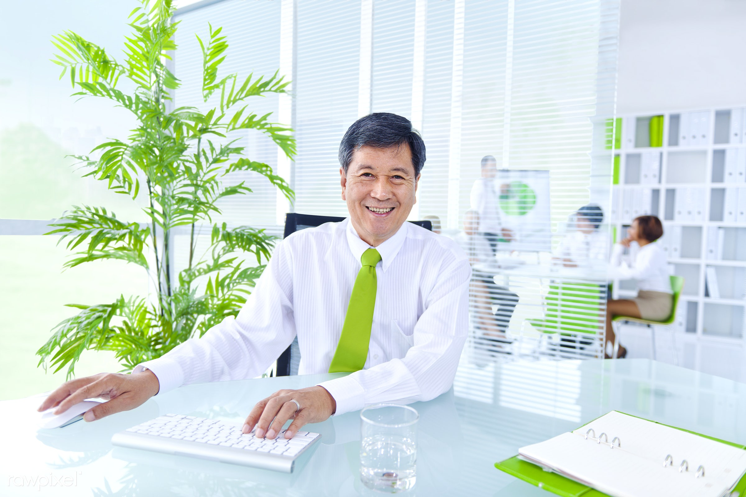 Senior businessman in a green office - ceo, adult, african descent, asian, asian ethnicity, brainstorming, business,...