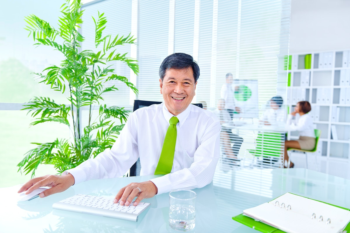 Senior businessman in a green office