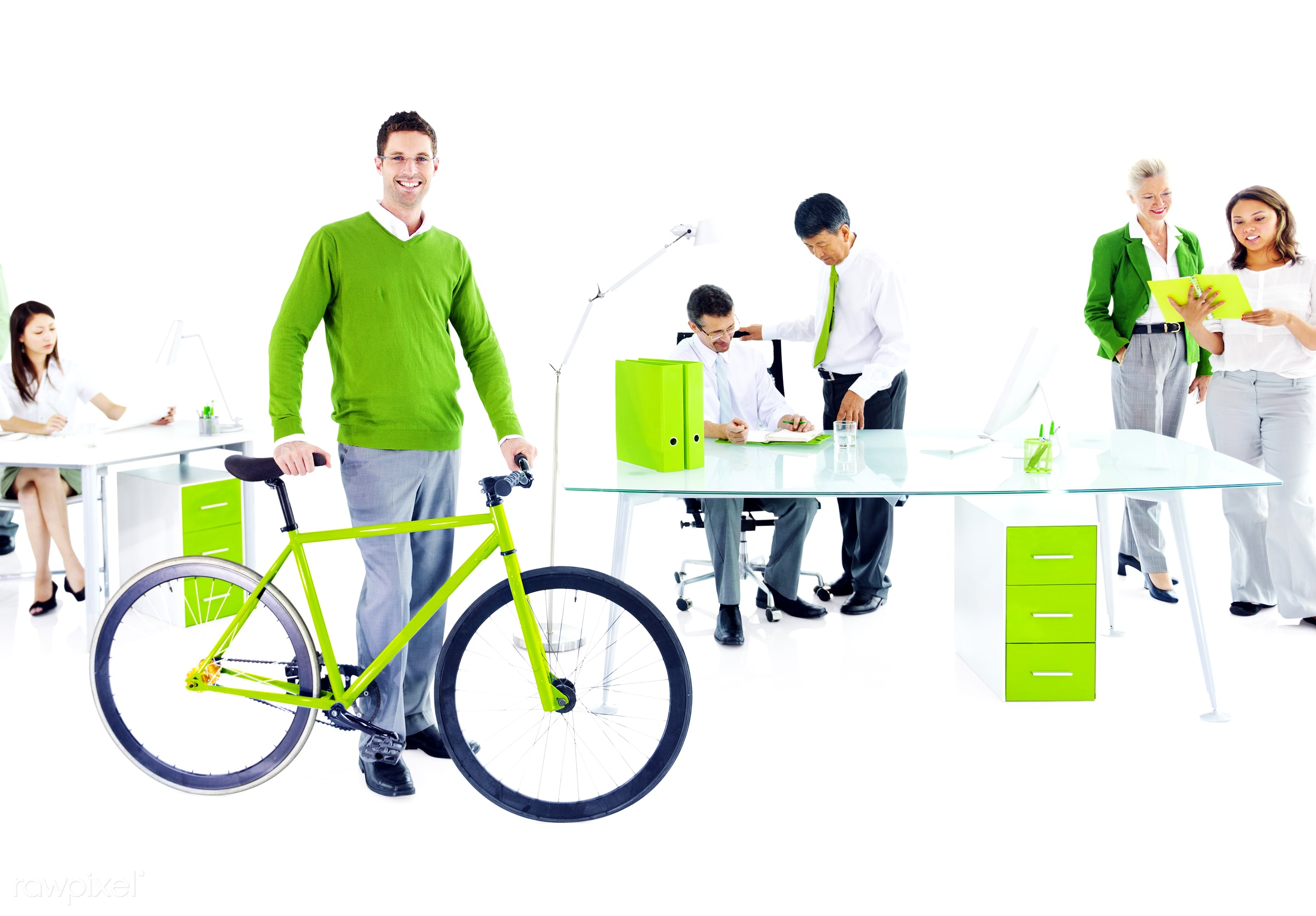 Businessman with a bicycle in a green office - bicycle, adult, advice, african descent, asian ethnicity, assistant,...