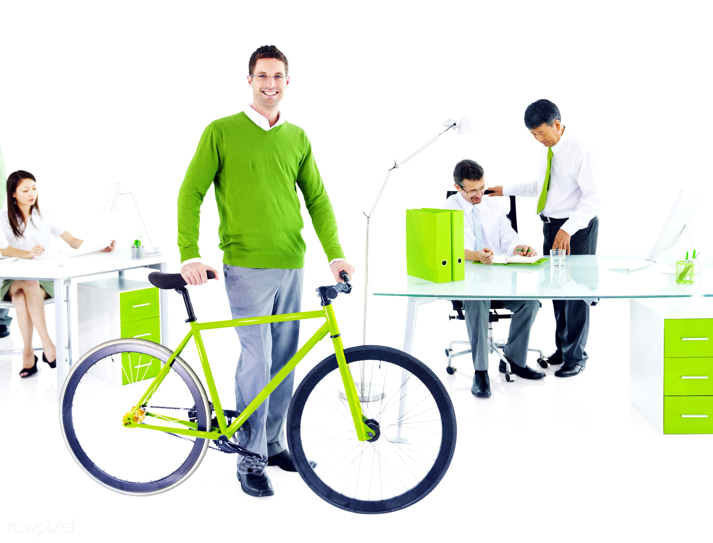 Businessman with a bicycle in a green office - adult, advice, african descent, asian ethnicity, bicycle, brainstorming,...