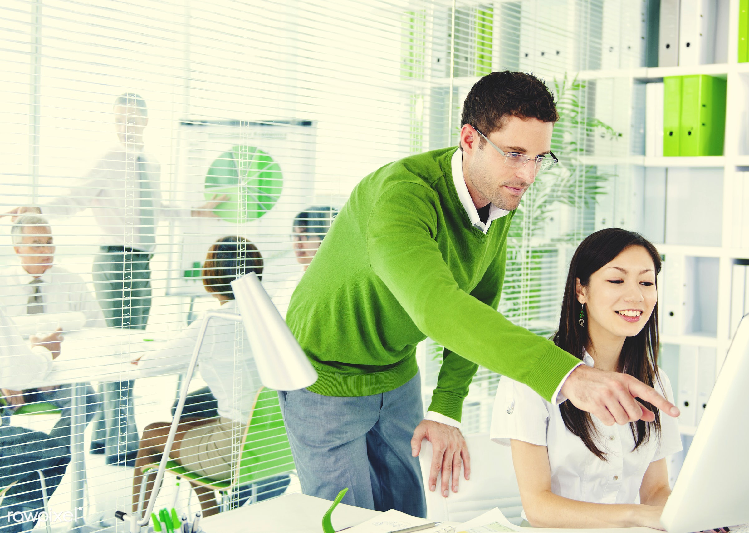 Business people working in a green office - adult, african descent, asian ethnicity, assistant, brainstorming, business,...