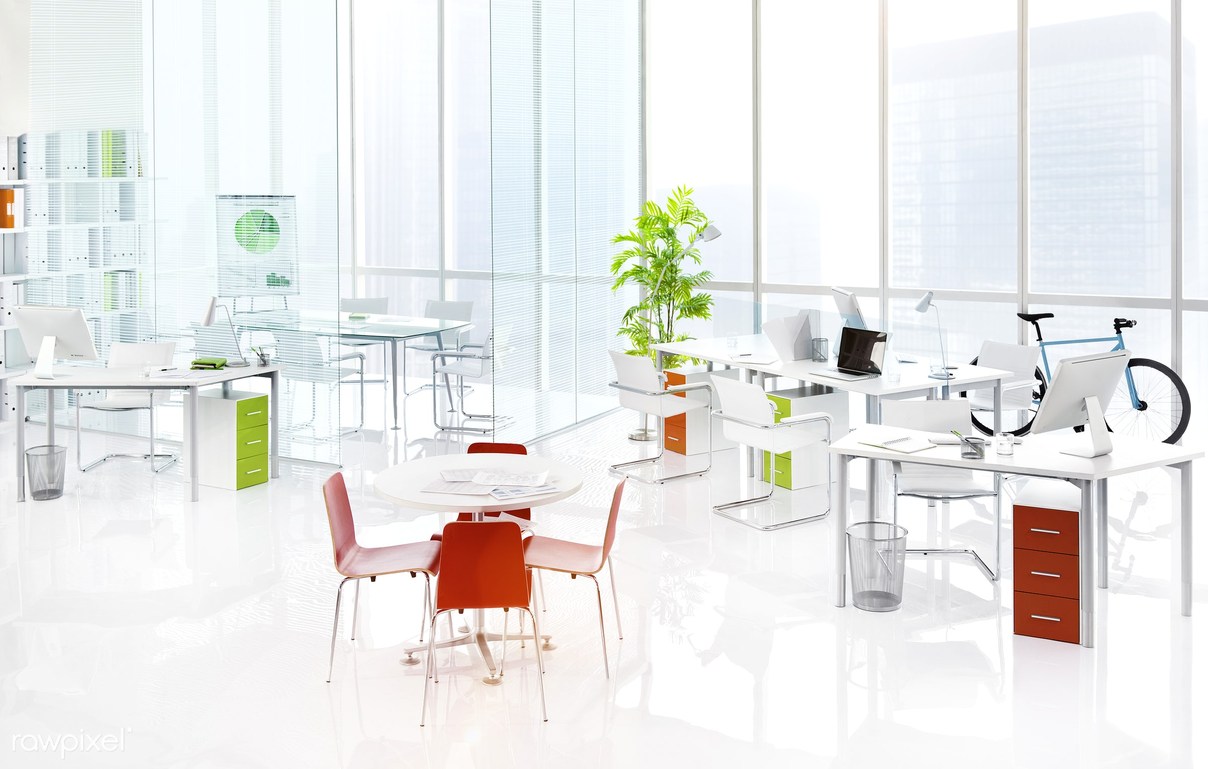 An empty office - architecture, bicycle, blue bicycle, brainstorming, build structure, business, center, city, city view,...