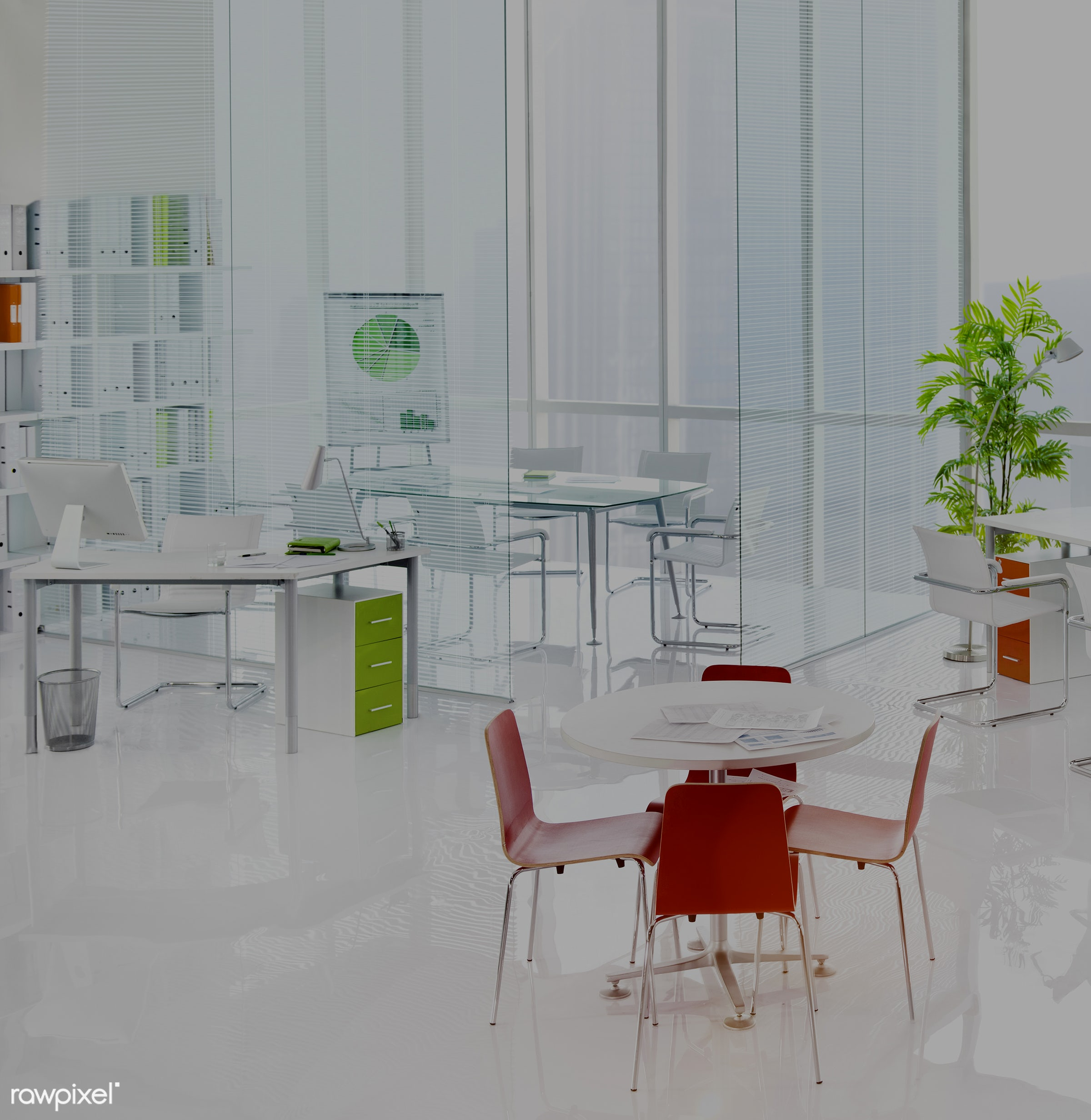 An empty office - architecture, brainstorming, build structure, business, center, city, city view, cityscape, computer,...