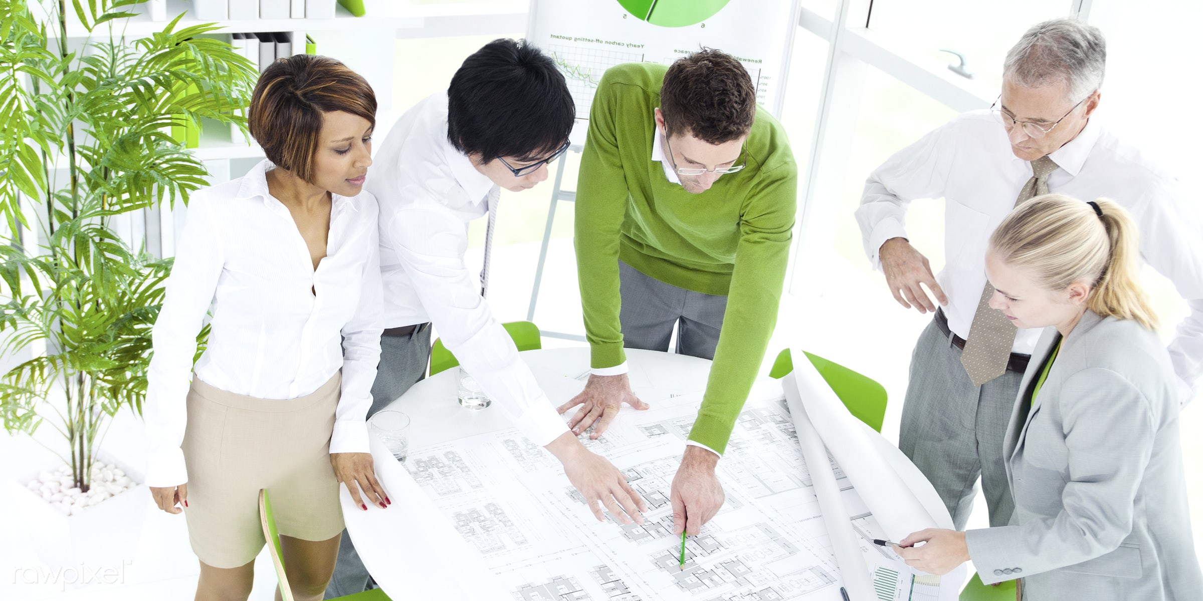 Business people working in a green office - guide, adult, african descent, architecture, asian ethnicity, assistant,...
