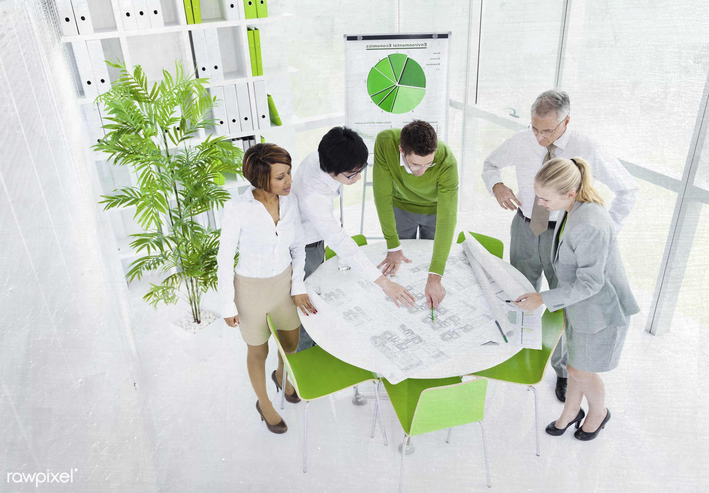 Business people working in a green office - adult, african descent, architecture, asian ethnicity, blueprint, brainstorming...