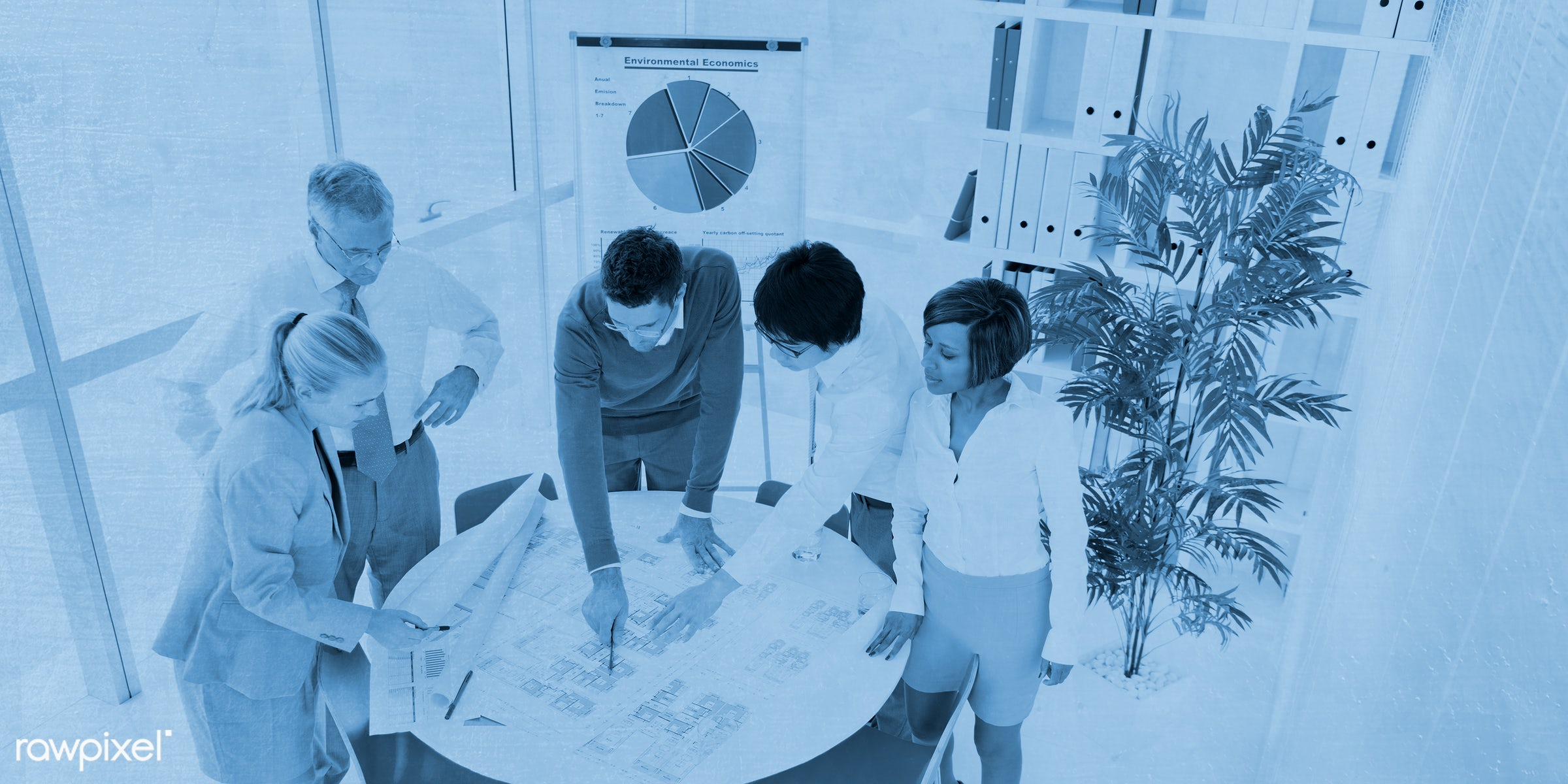 Business people working in a green office - adult, african descent, architecture, asian ethnicity, assistant, blueprint,...