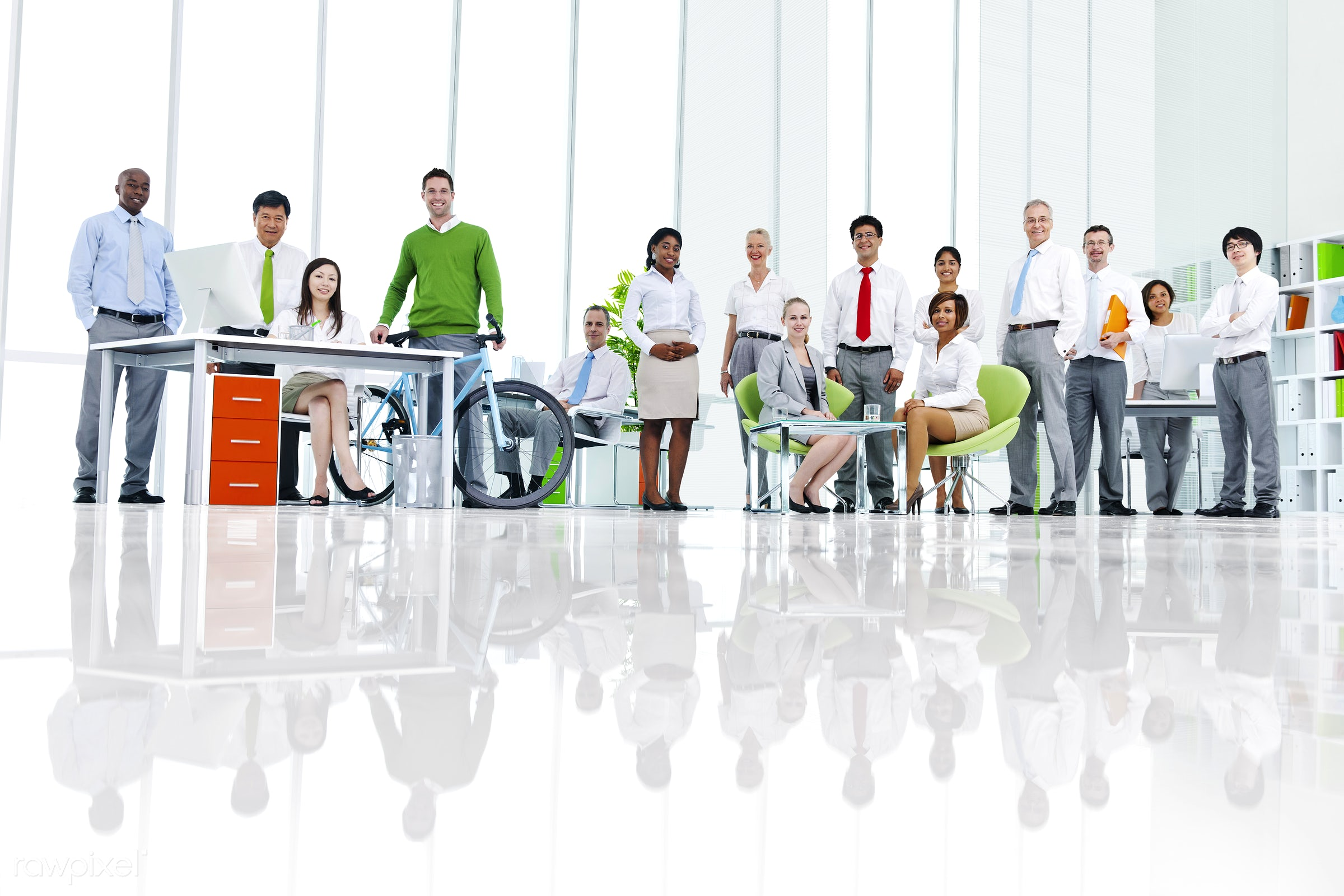 Business people in a green office - african descent, asian ethnicity, assistant, bicycle, board room, business, business...