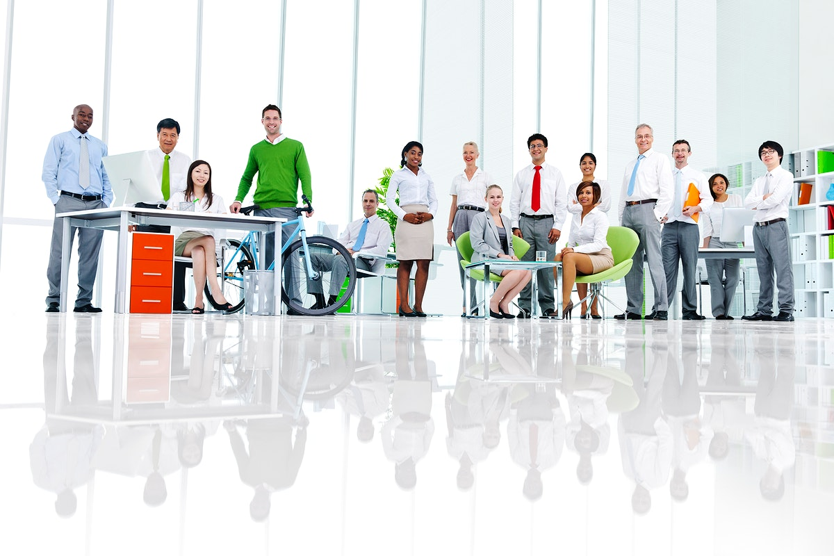 Business people in a green office